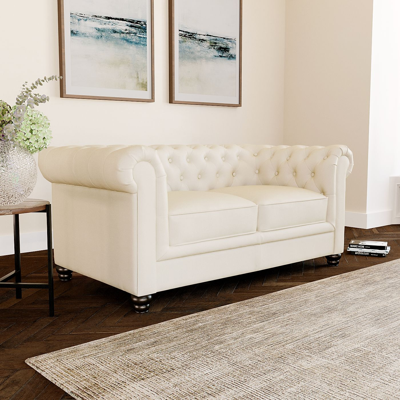 Amazing Hampton Ivory Leather 2 Seater Chesterfield Sofa Pabps2019 Chair Design Images Pabps2019Com