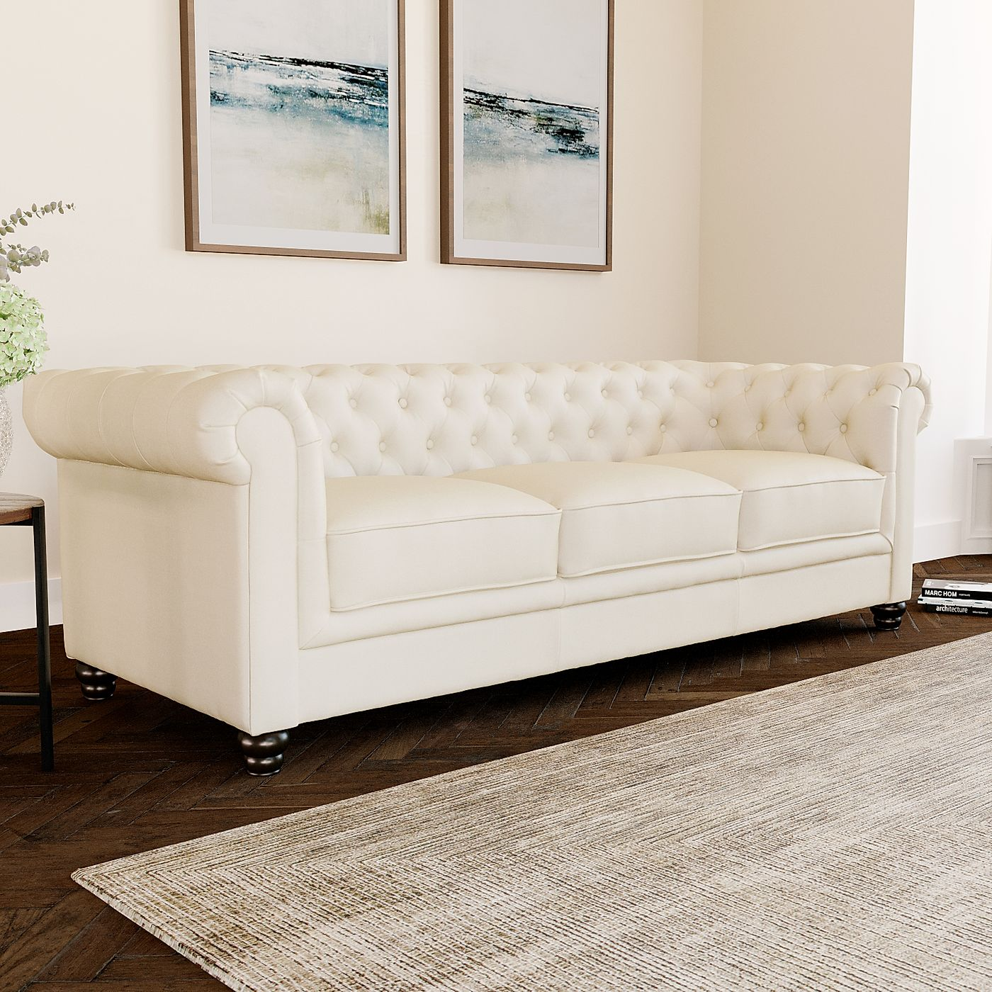 Hampton Ivory Leather 3 Seater Chesterfield Sofa