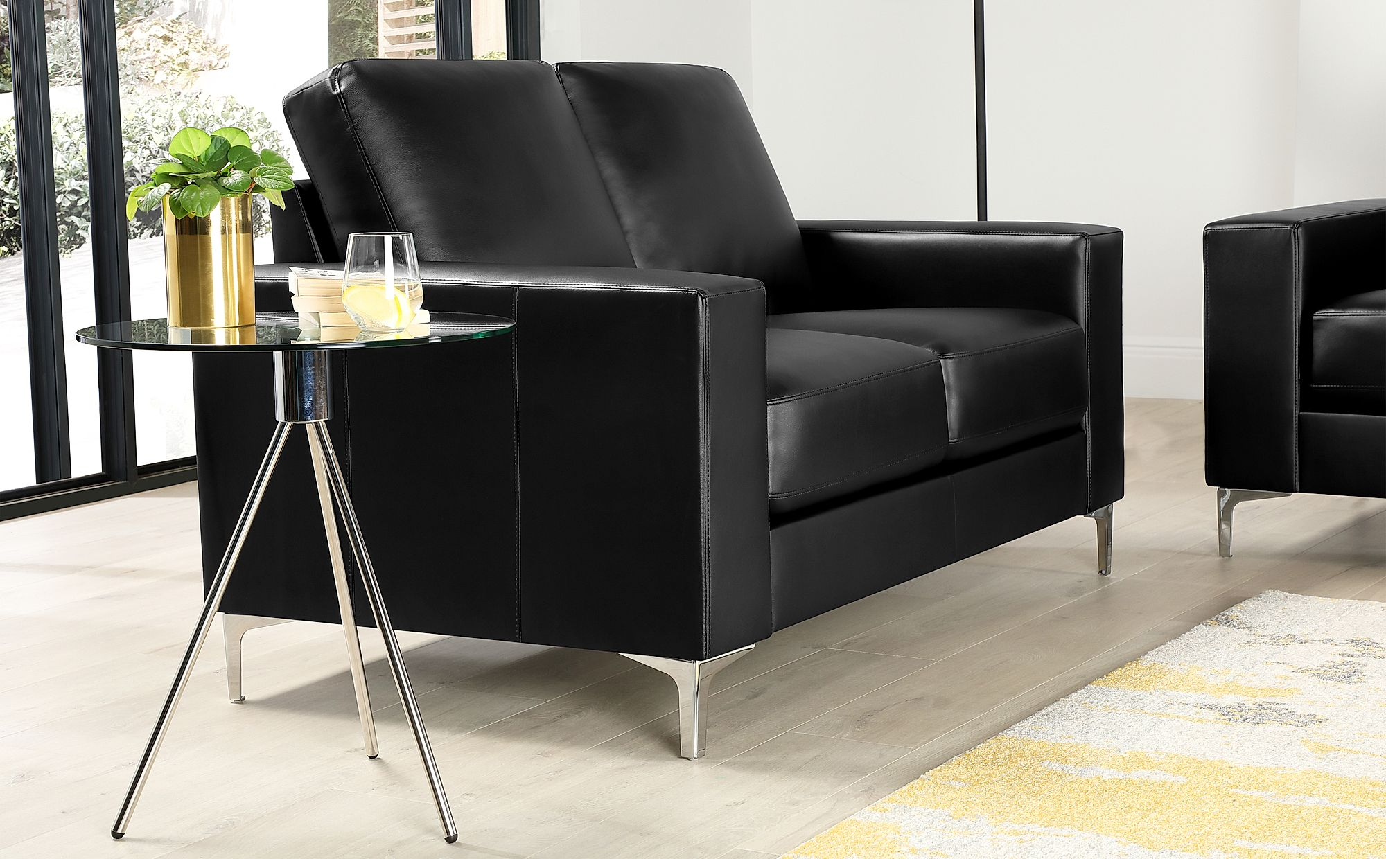 Baltimore Black Leather 2 Seater Sofa