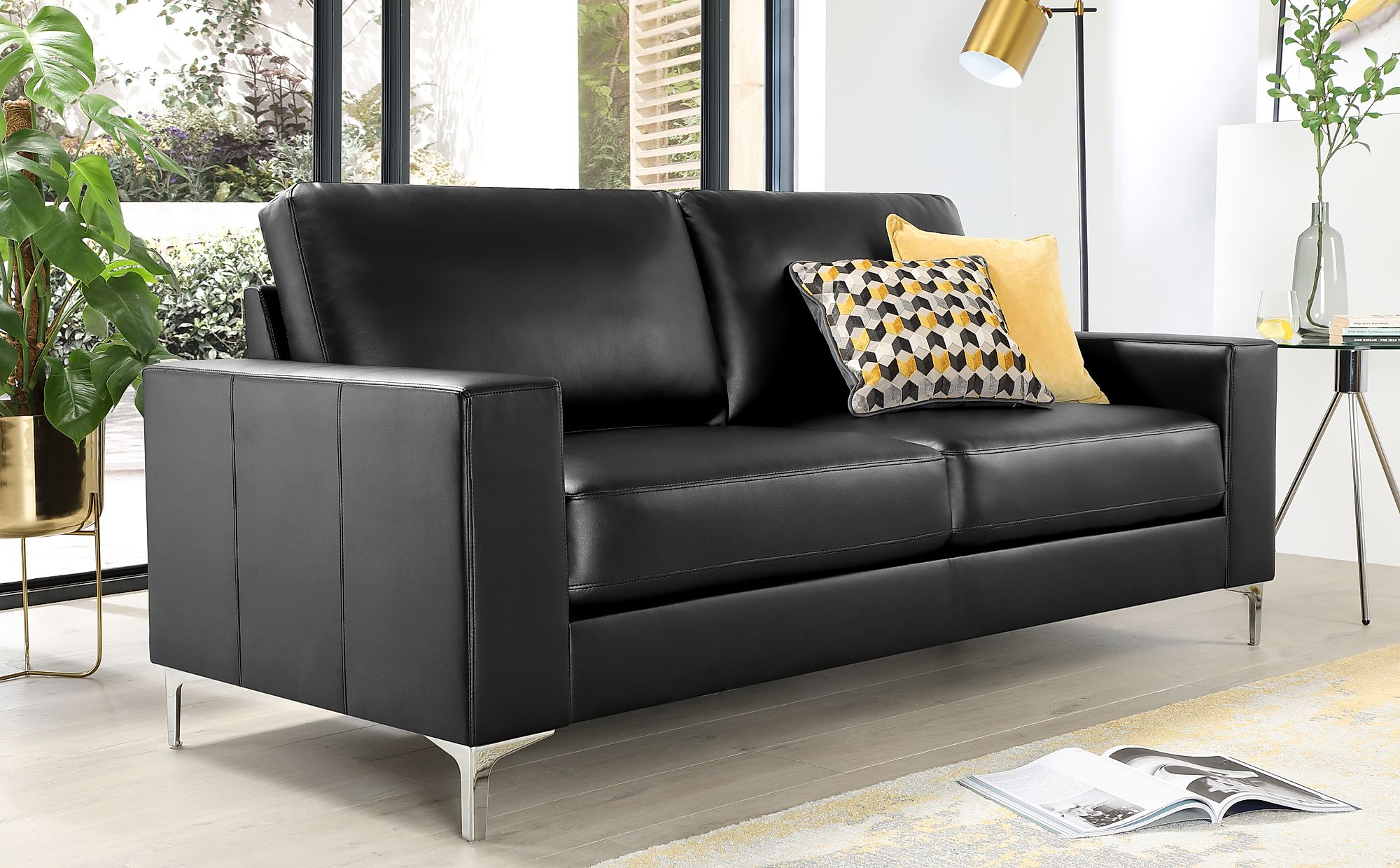Baltimore 3 Seater Leather Sofa - Black Only £399.99 | Furniture Choice