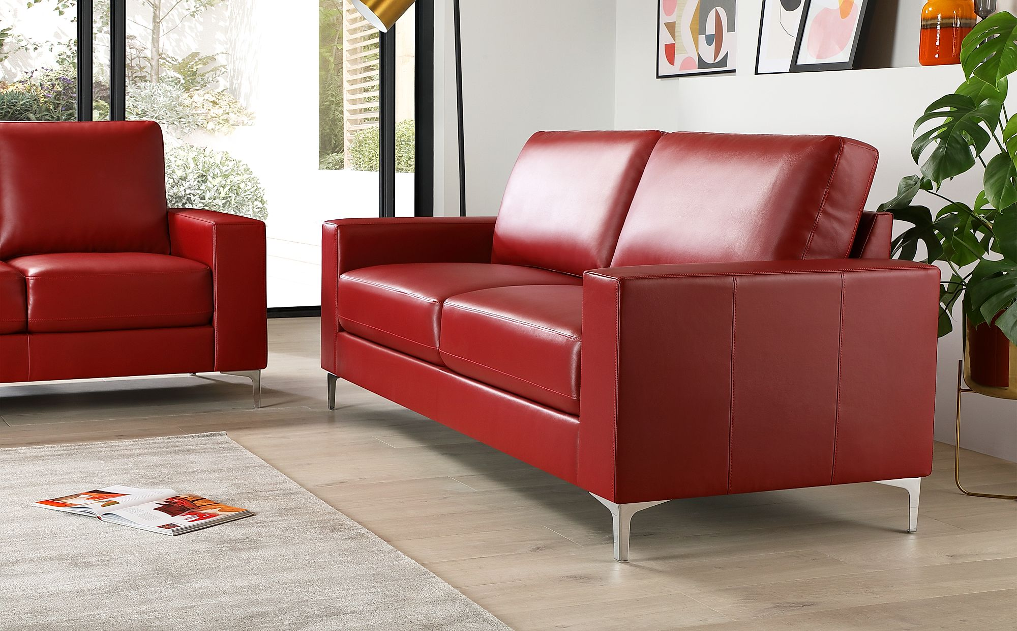 Baltimore Red Leather 3 Seater Sofa