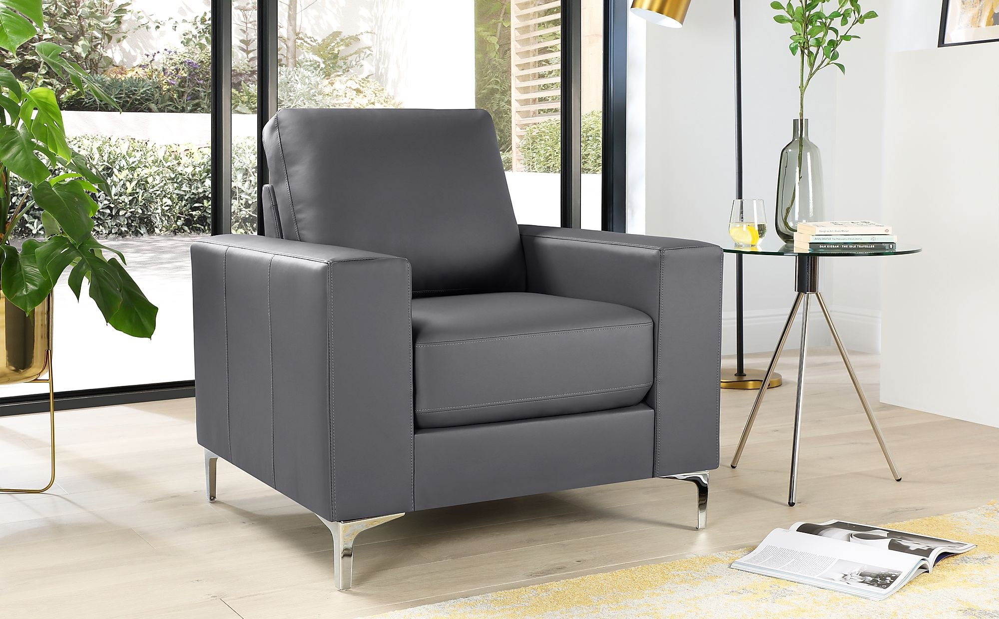 Baltimore Grey Leather Armchair | Furniture Choice