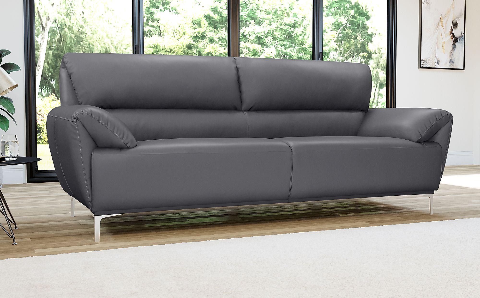 Enzo Grey Leather Sofa - 3 Seater