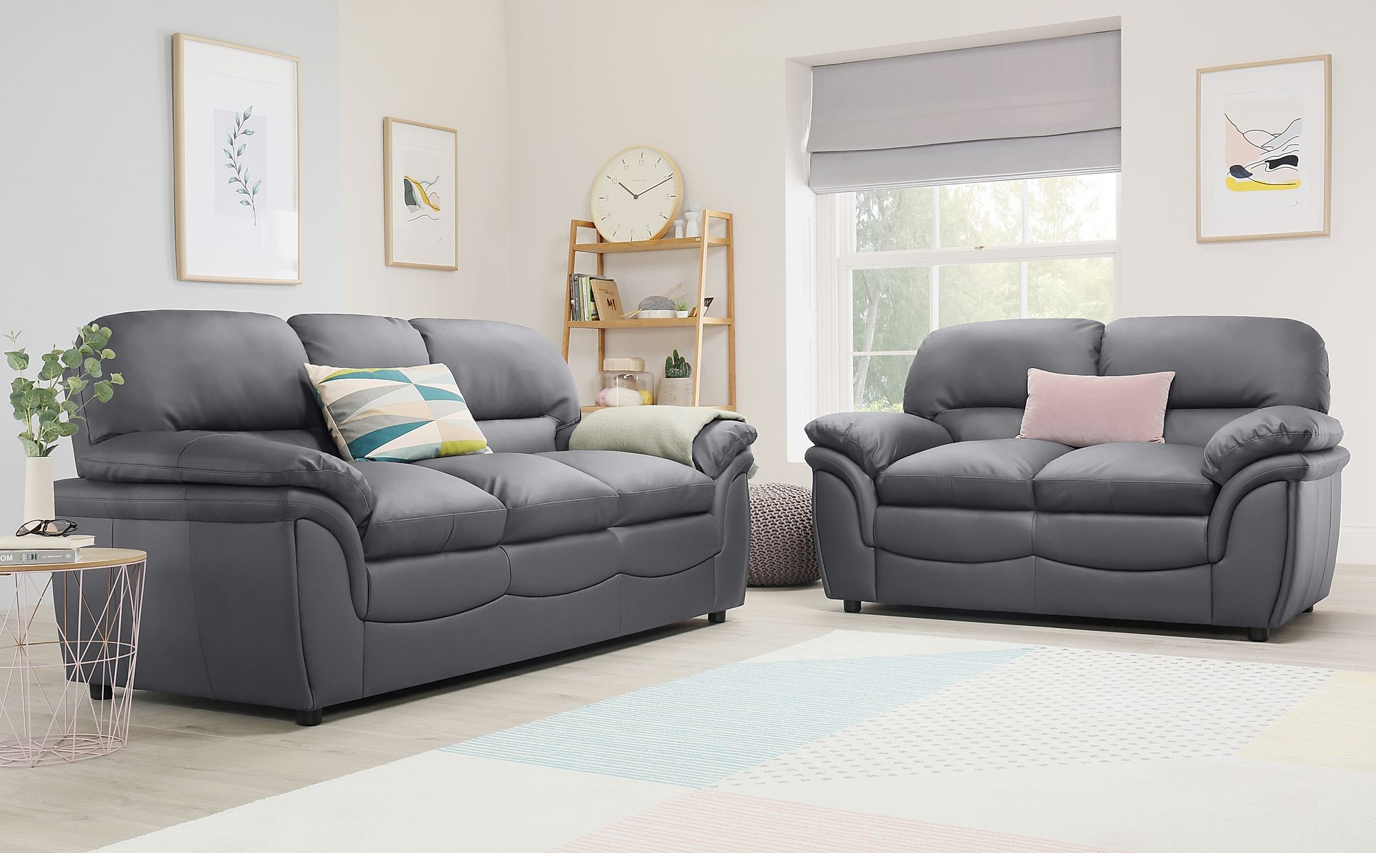 Rochester Grey Leather 3 2 Seater Sofa Set