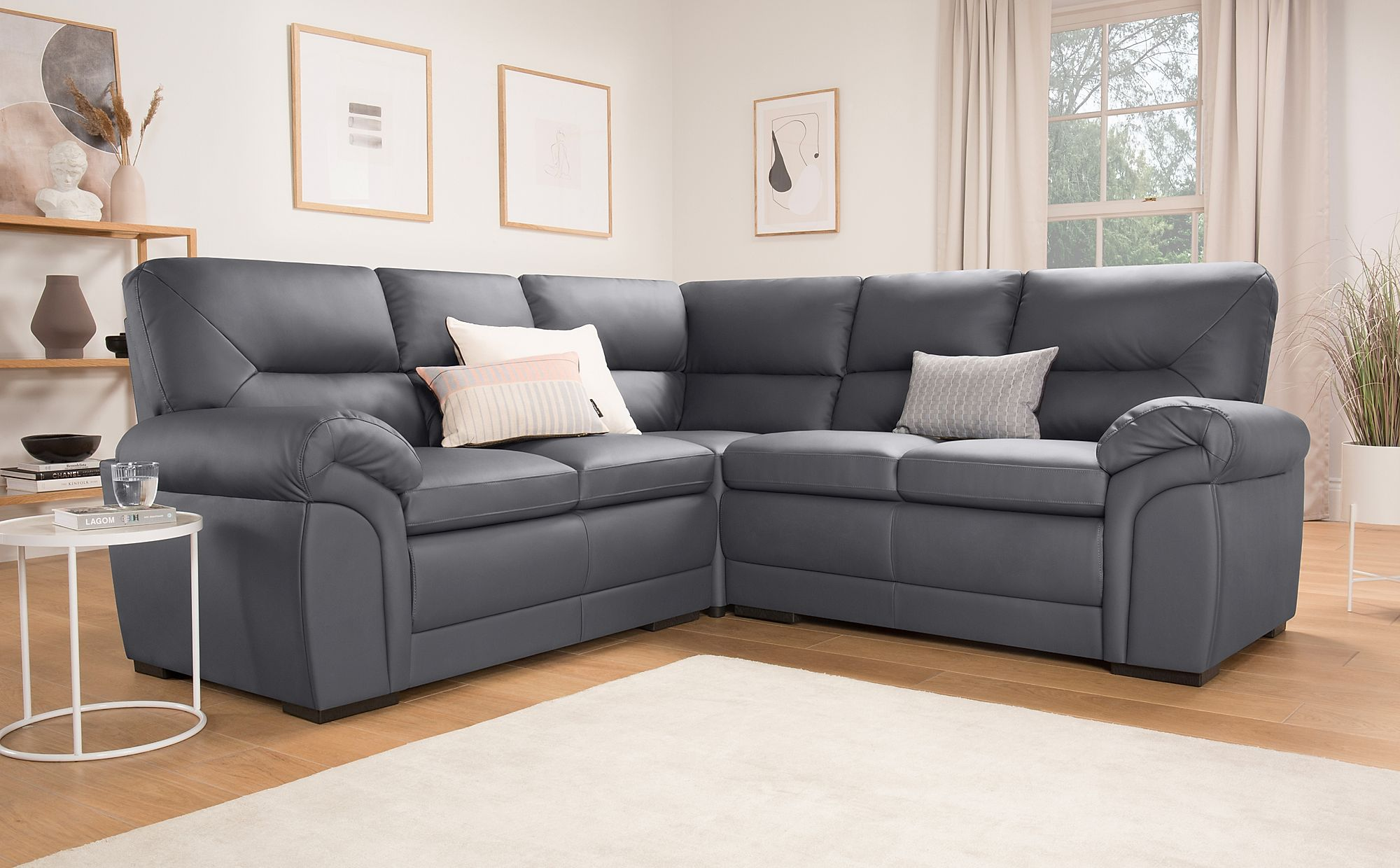 Bromley Grey Leather Corner Sofa Only £899.99 | Furniture Choice