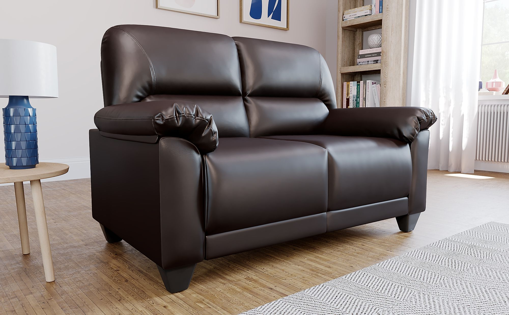 Kenton Small Brown Leather 2 Seater Sofa Furniture Choice