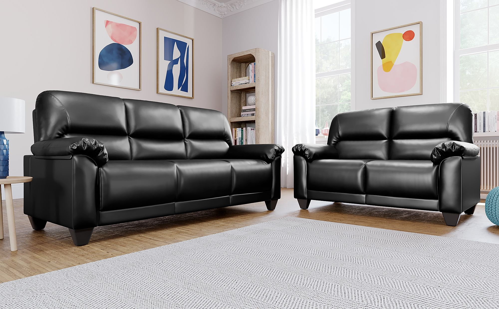 Kenton Small Black Leather Sofa 3 2 Seater Only 163 499 98 Furniture Choice