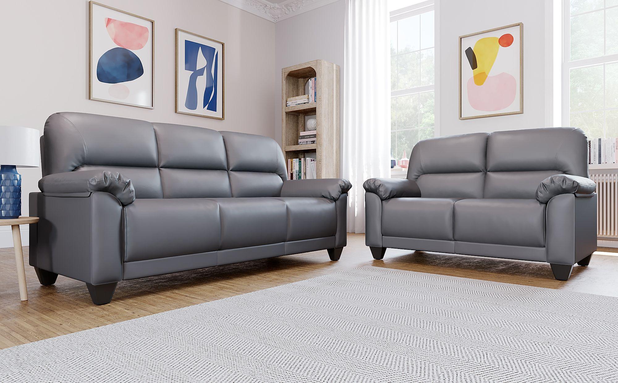 Kenton Small Grey Leather Sofa 3 2 Seater Only 163 499 98