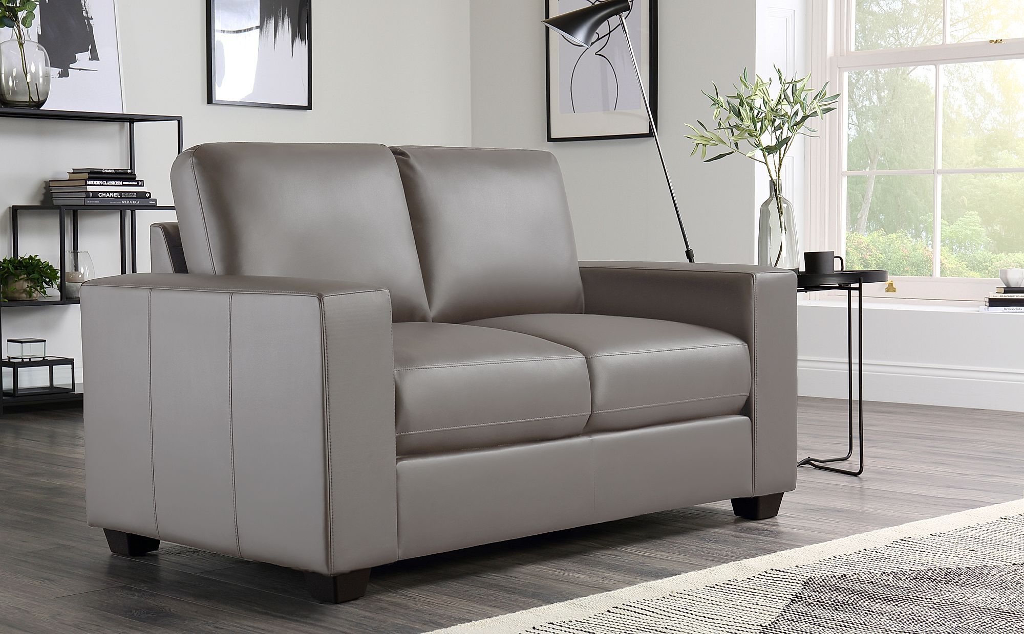 Mission Taupe Leather Sofa 3 2 Seater