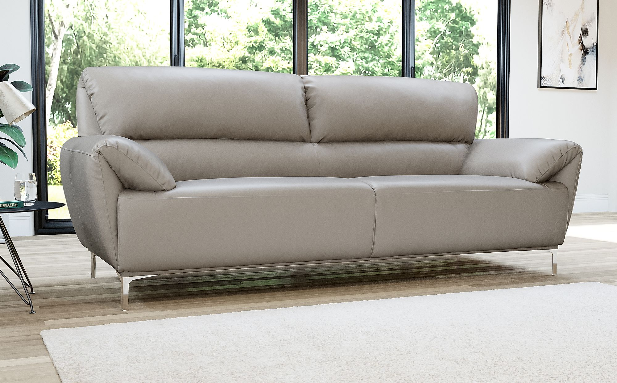 Enzo Taupe Leather Sofa 3 Seater