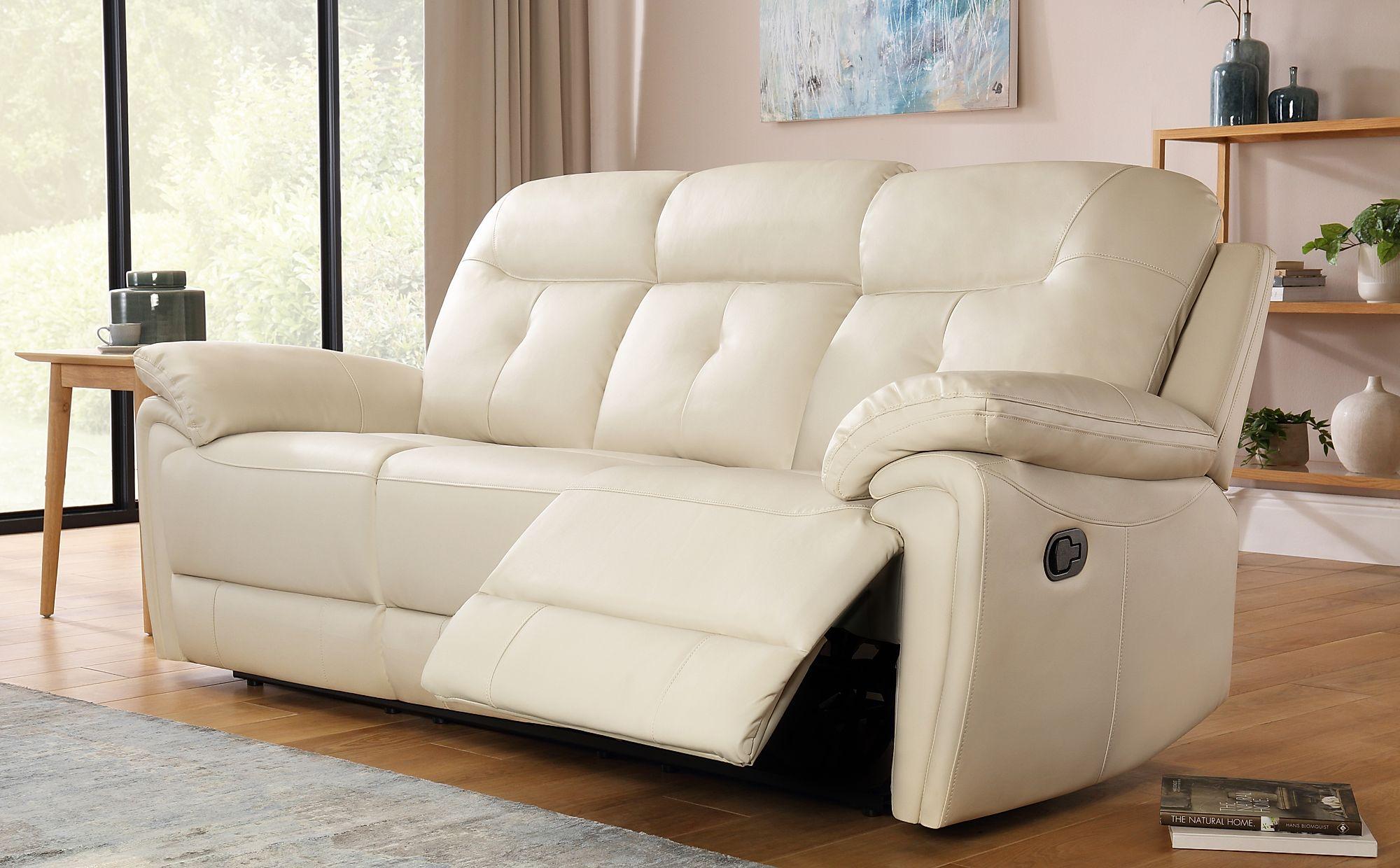Ellington Ivory Leather 3 Seater Recliner Sofa Furniture