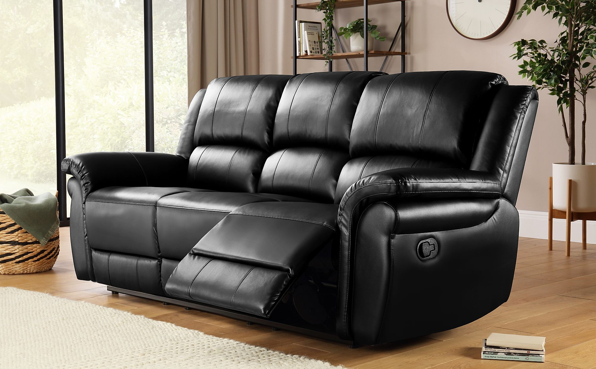 Lombard Black Leather 3 Seater Recliner Sofa
