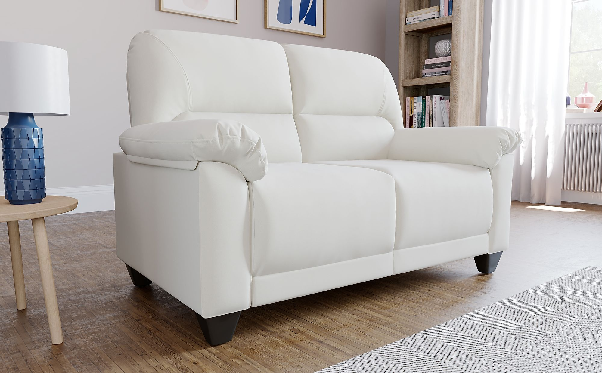 Kenton Small Ivory Leather 2 Seater Sofa | Furniture Choice