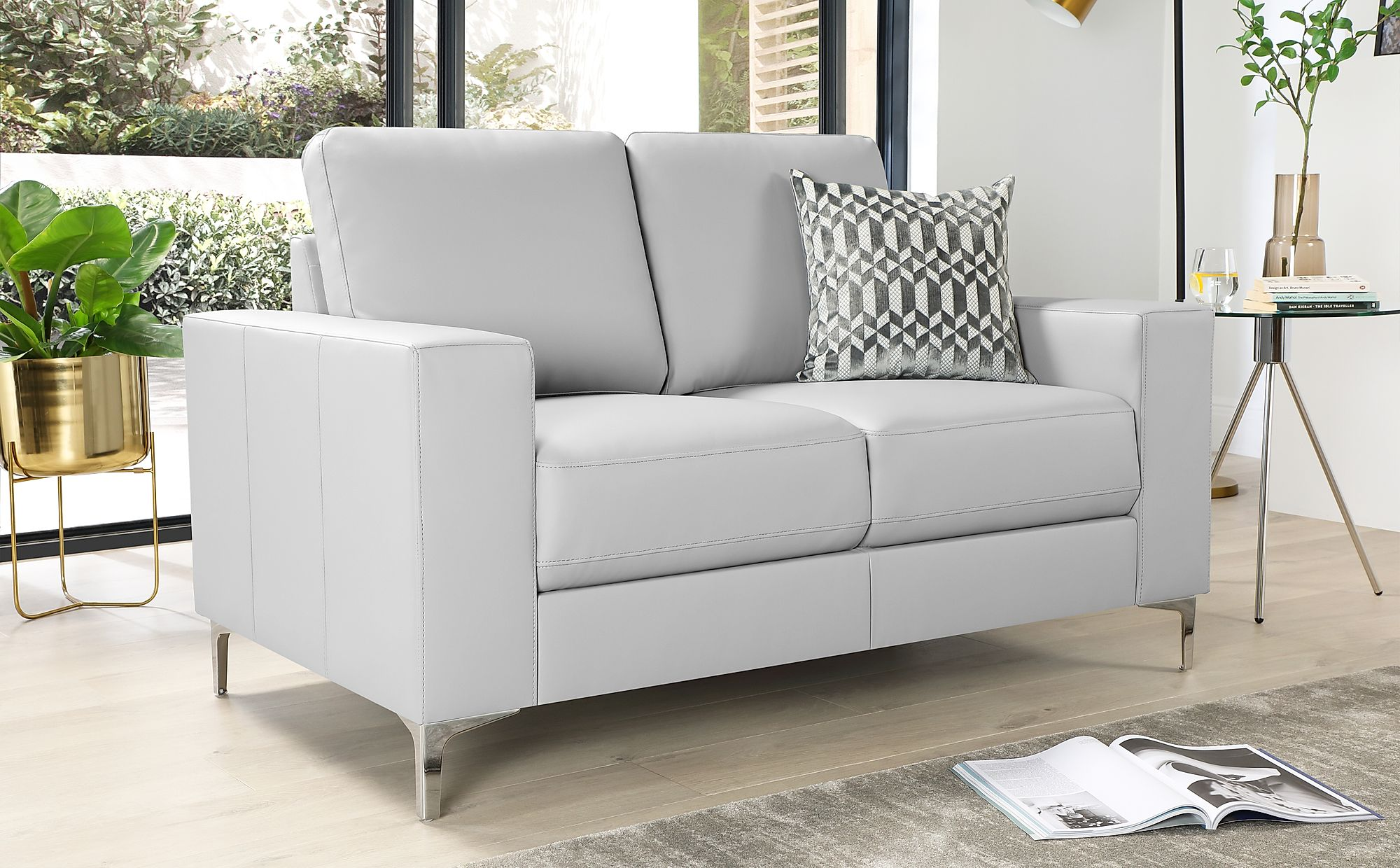 Baltimore Light Grey Leather Sofa 2 Seater Furniture Choice