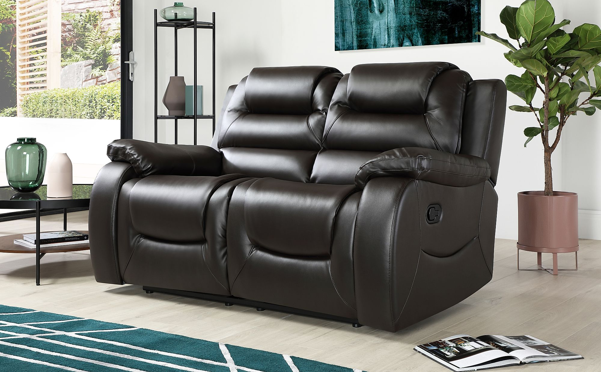 Vancouver Brown Leather 2 Seater Recliner Sofa Furniture Choice