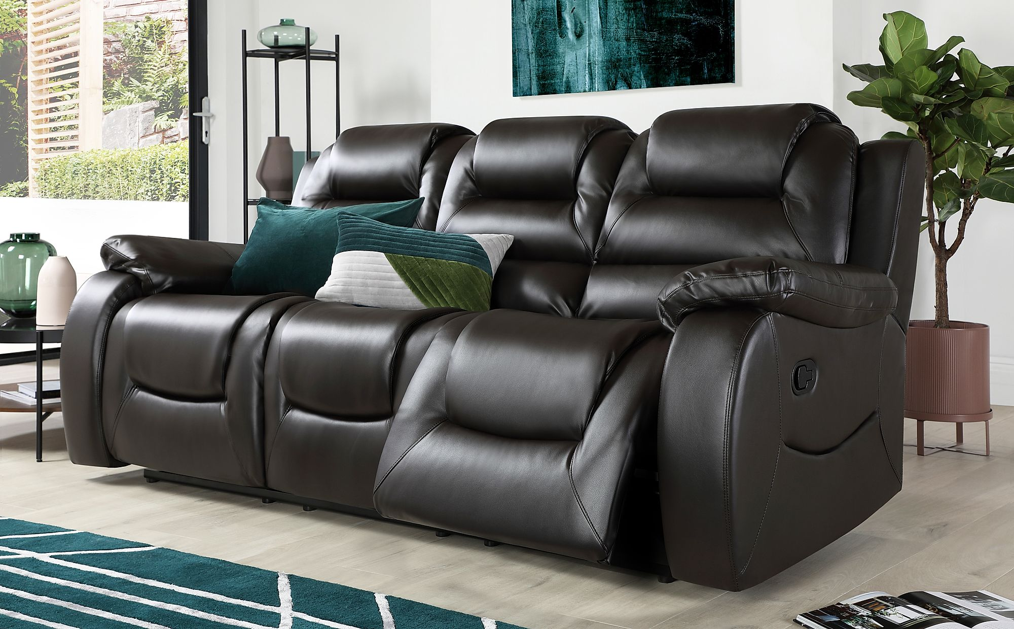 Vancouver Brown Leather 3 Seater Recliner Sofa | Furniture ...