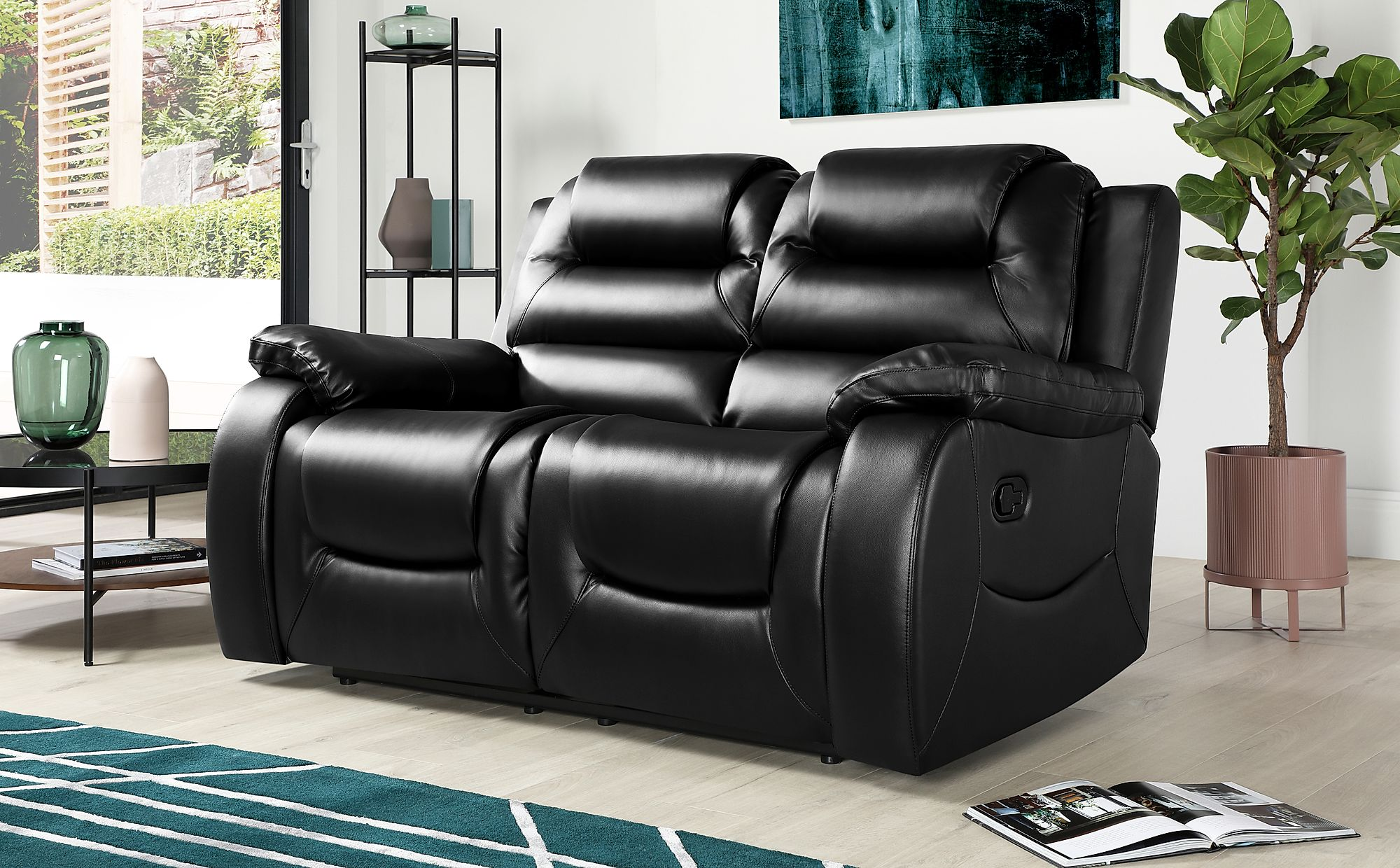 Vancouver Black Leather 6 Seater Recliner Sofa