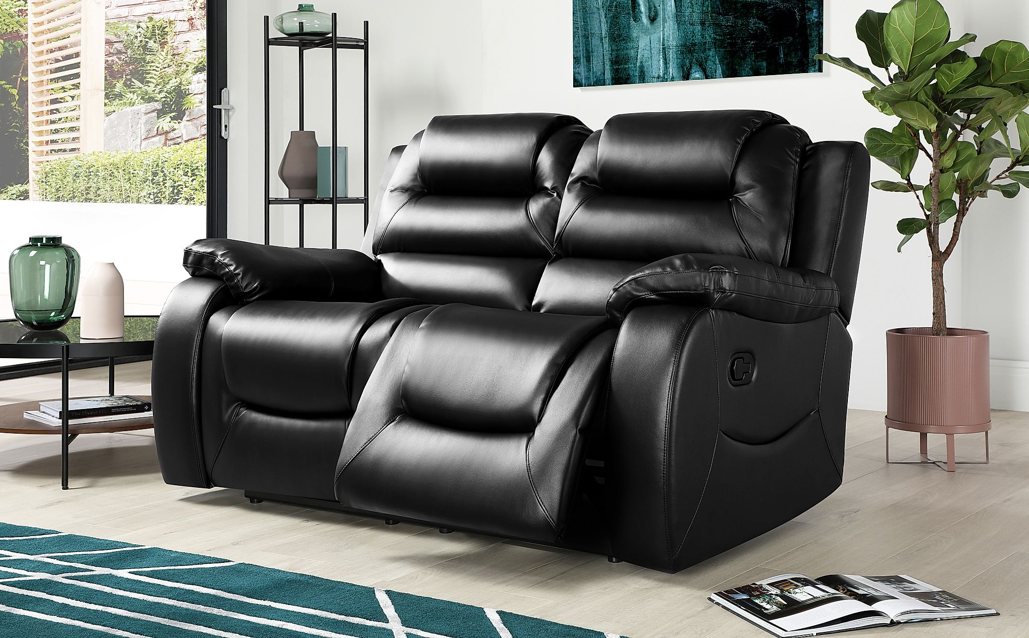 Vancouver 2 Seater Leather Recliner Sofa Black Only 499 99