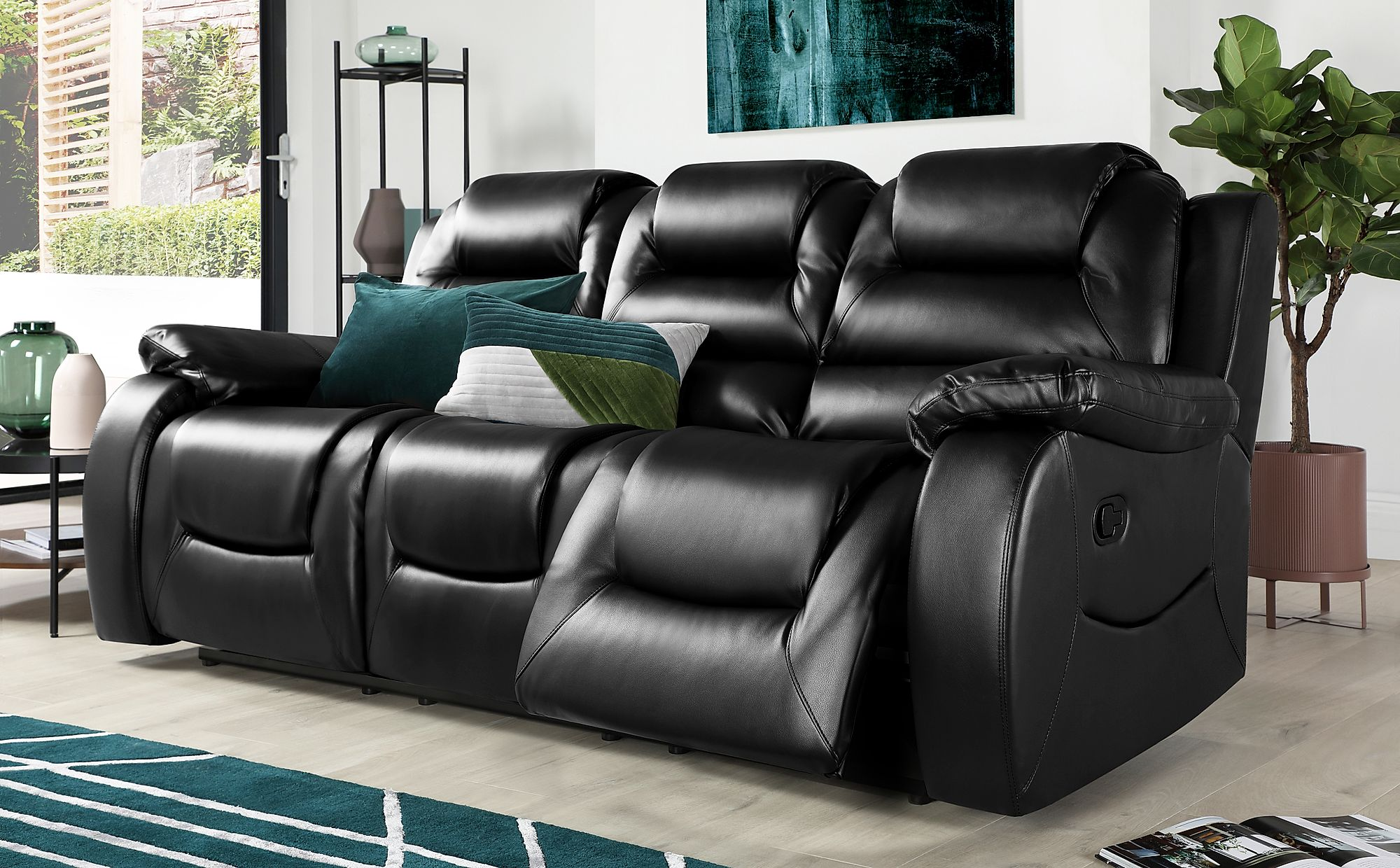 Vancouver Black Leather 3 Seater Recliner Sofa