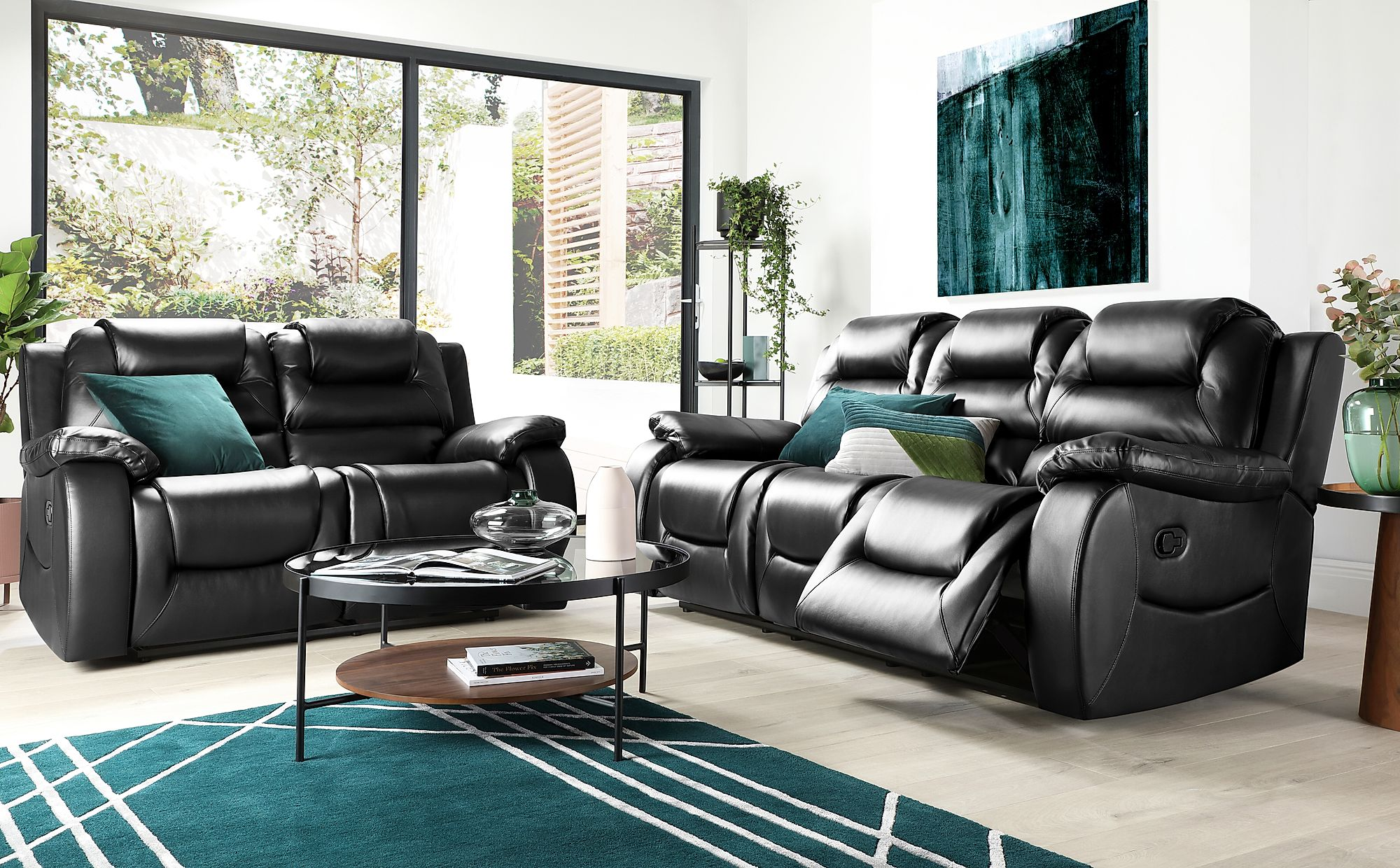 - Vancouver Black Leather 3+2 Seater Recliner Sofa Set Furniture