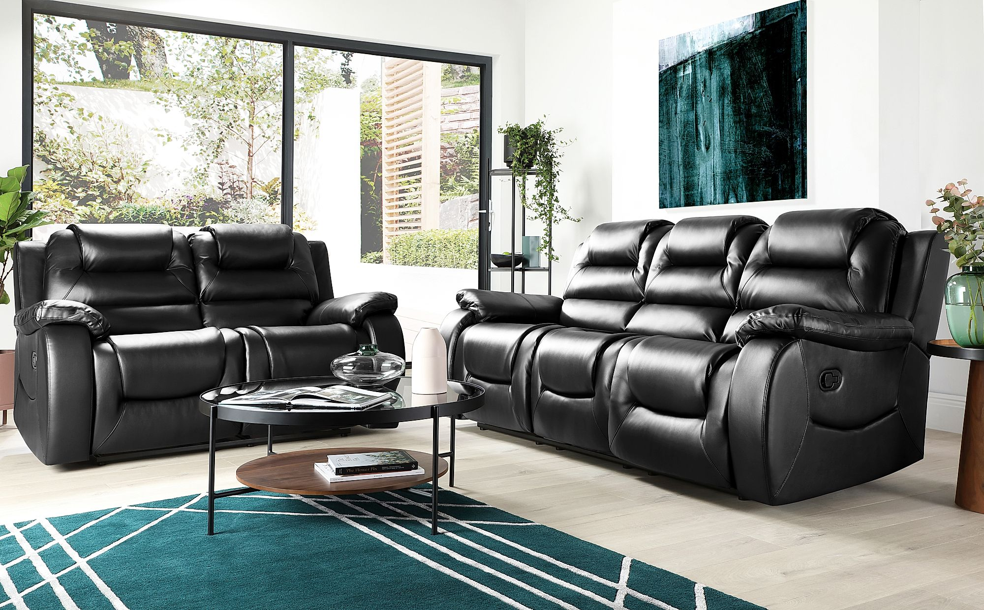 Vancouver Black Leather Recliner 3 2 Seater
