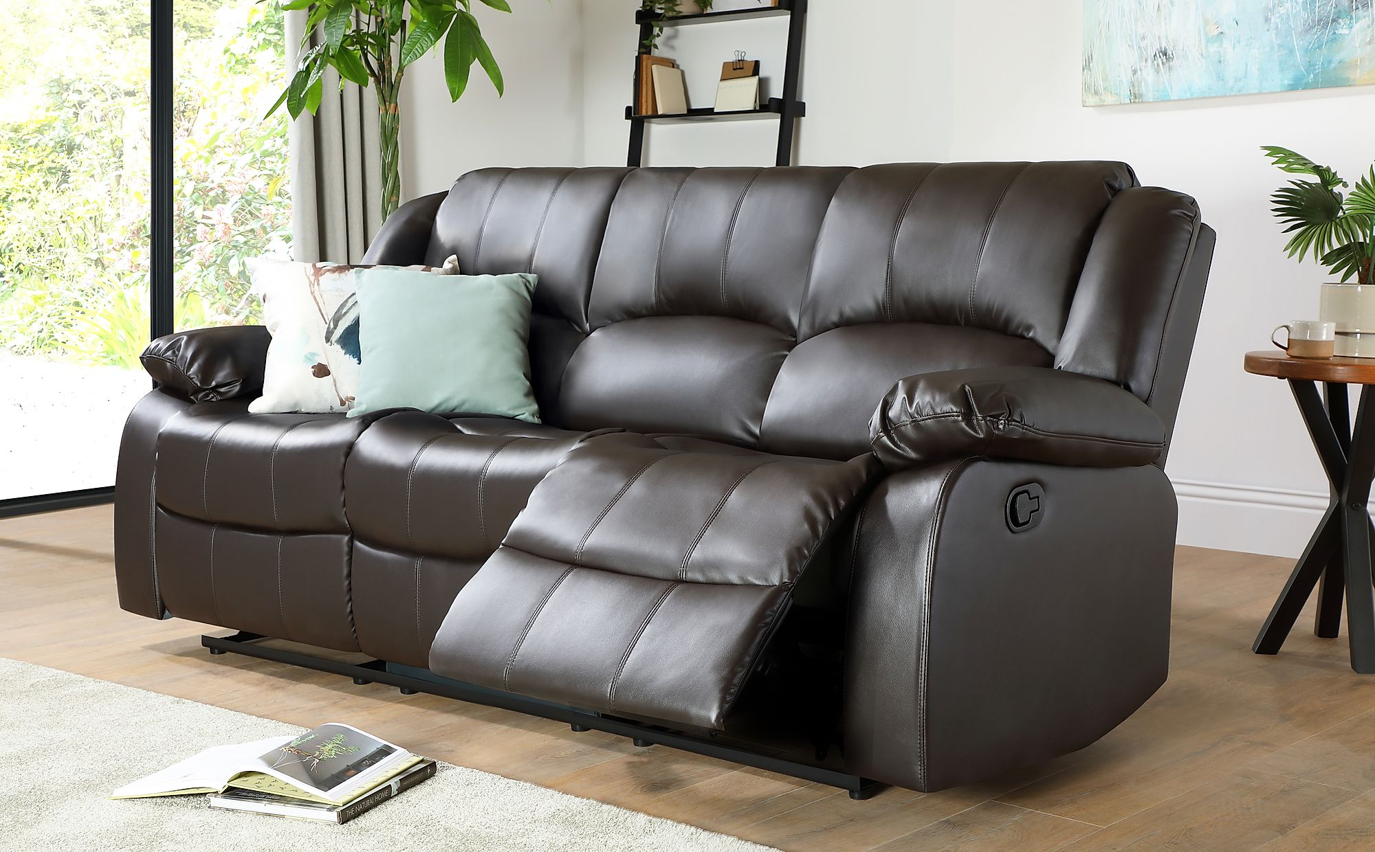 Dakota Brown Leather Recliner Sofa 3 Seater