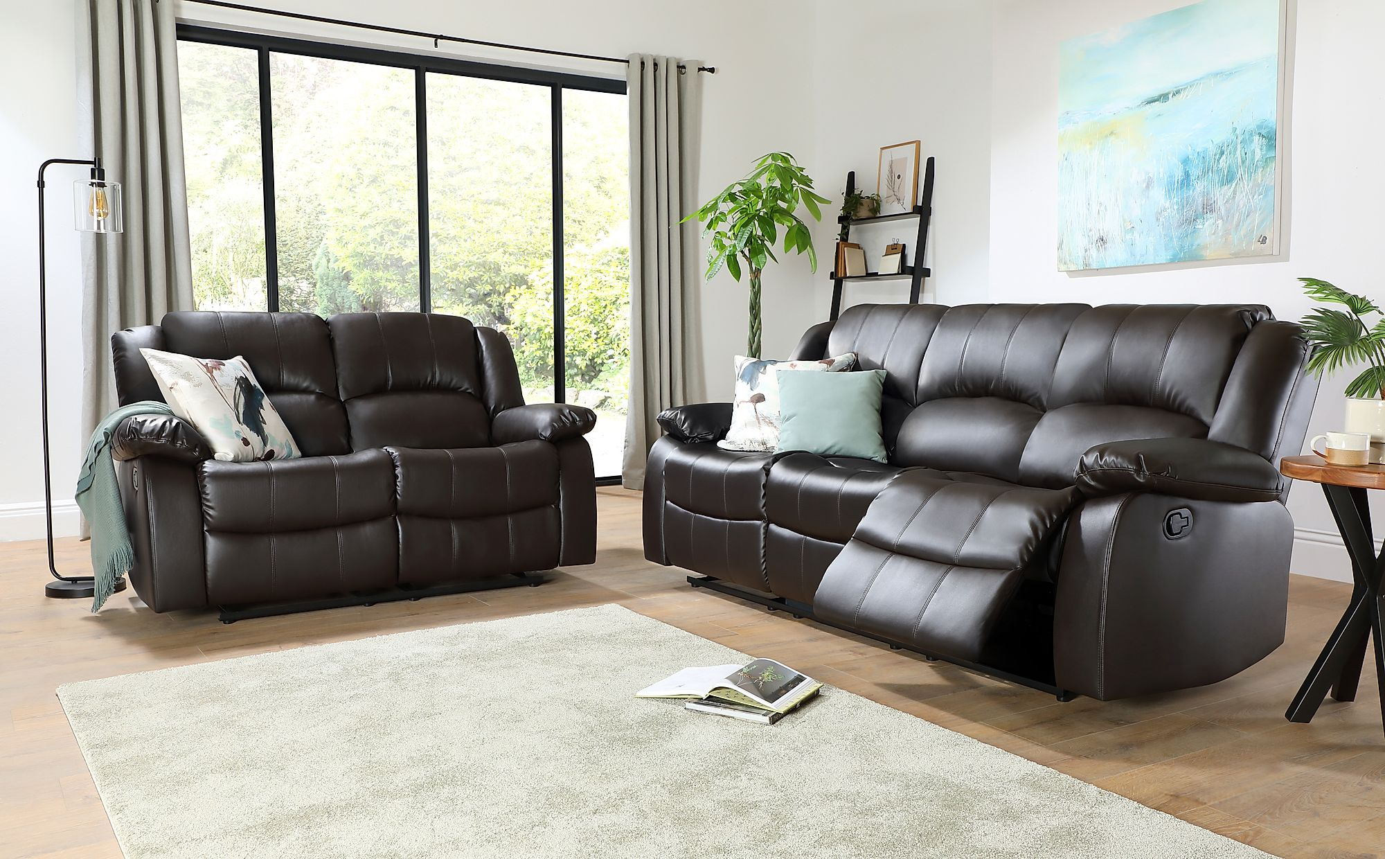 Dakota Brown Leather 3+2 Seater Recliner Sofa Set