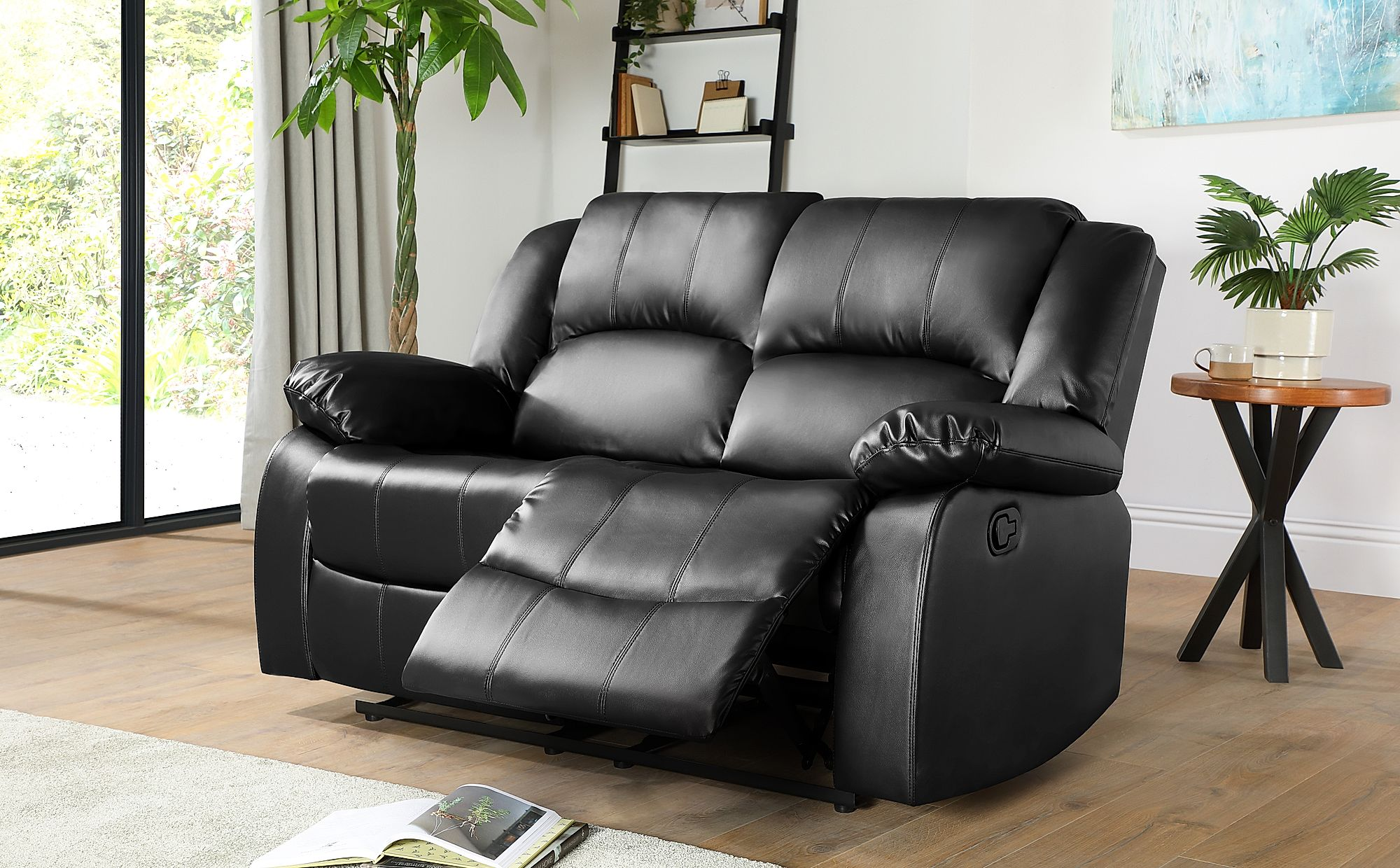 Dakota 2 Seater Leather Recliner Sofa Black Only 449 99