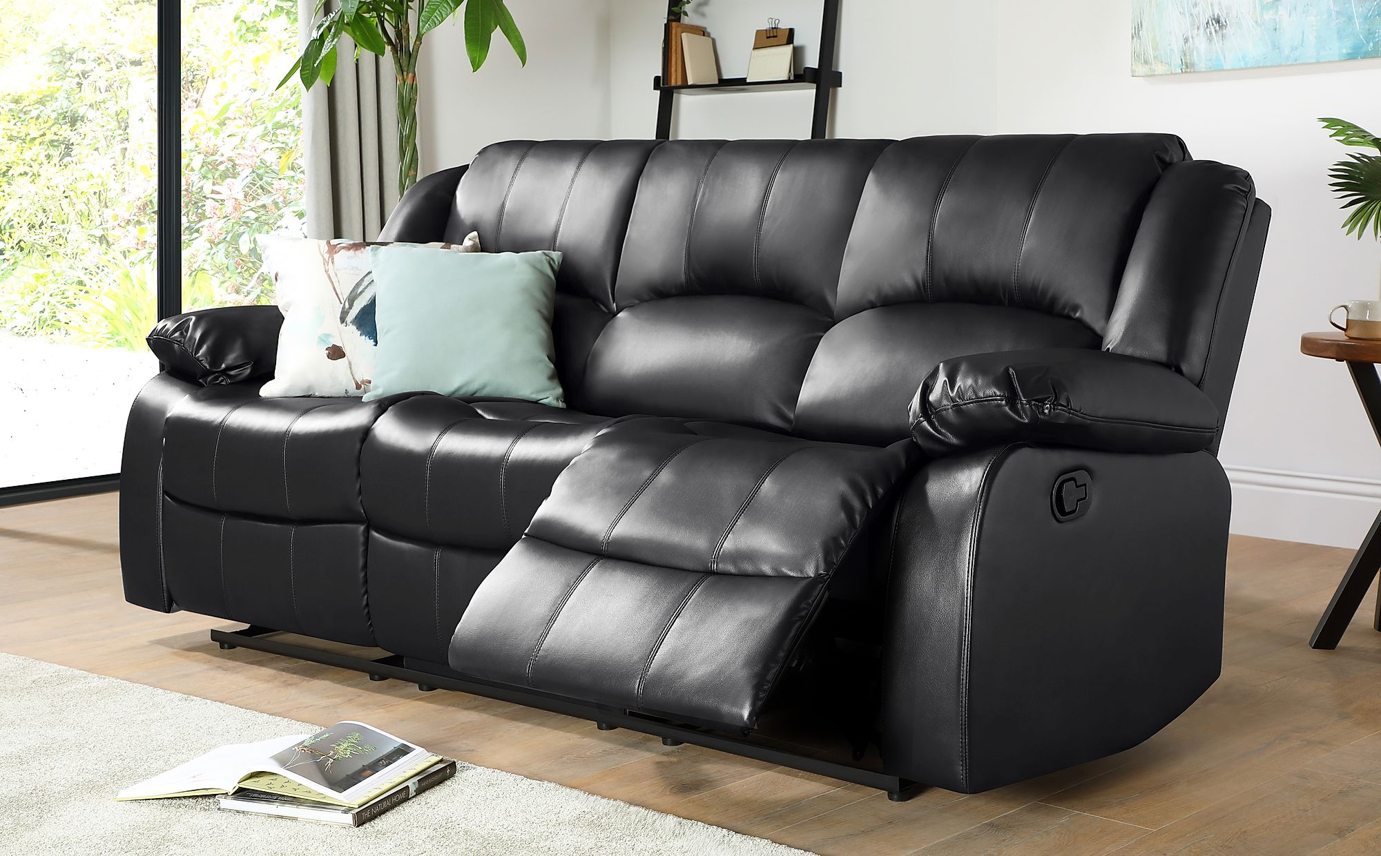 3 Seater Black Leather Recliner Sofa | Baci Living Room