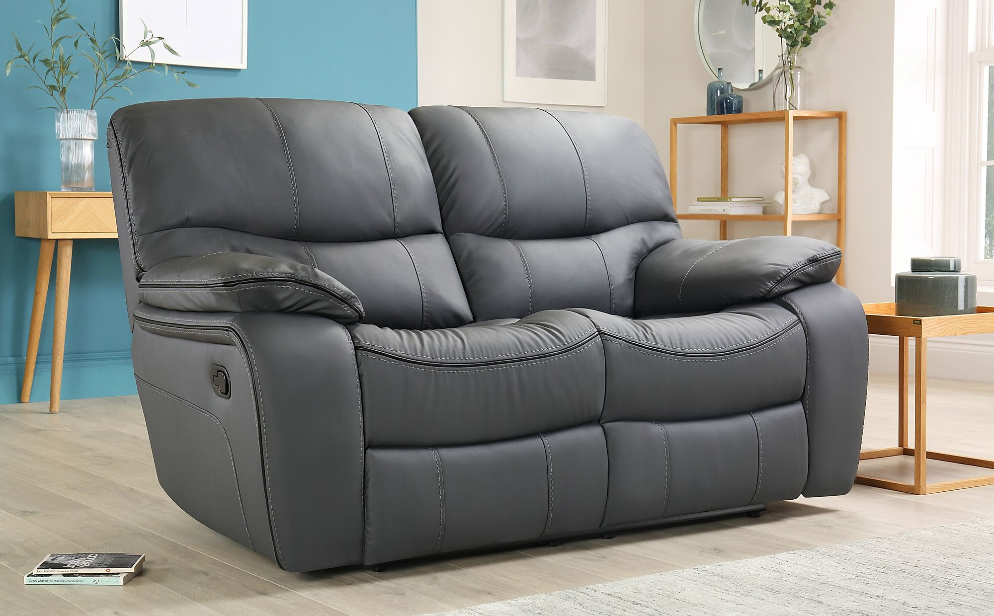 Peachy Beaumont Grey Leather 2 Seater Recliner Sofa Bralicious Painted Fabric Chair Ideas Braliciousco