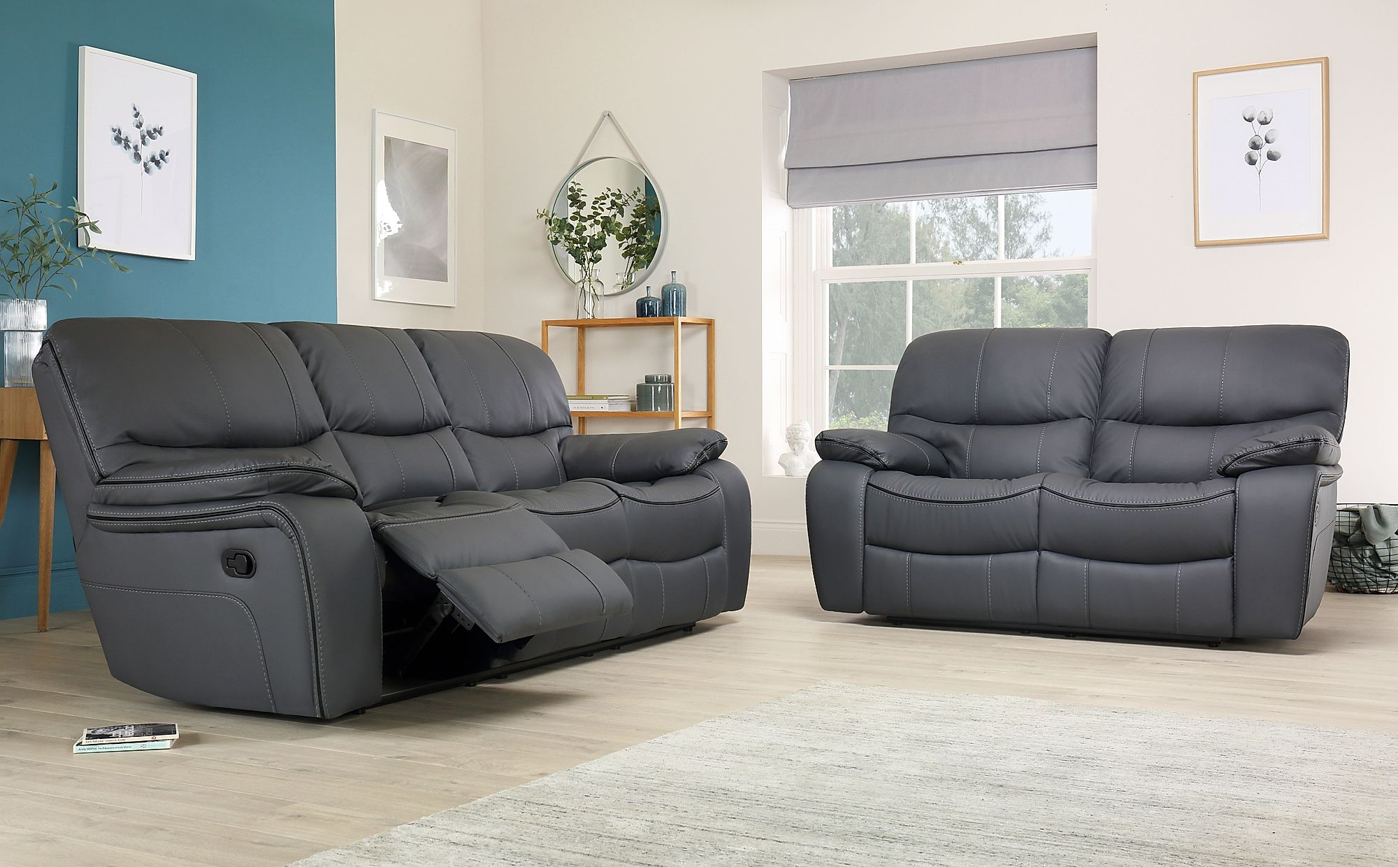 Beaumont Grey Leather 3 2 Seater Recliner Sofa Set