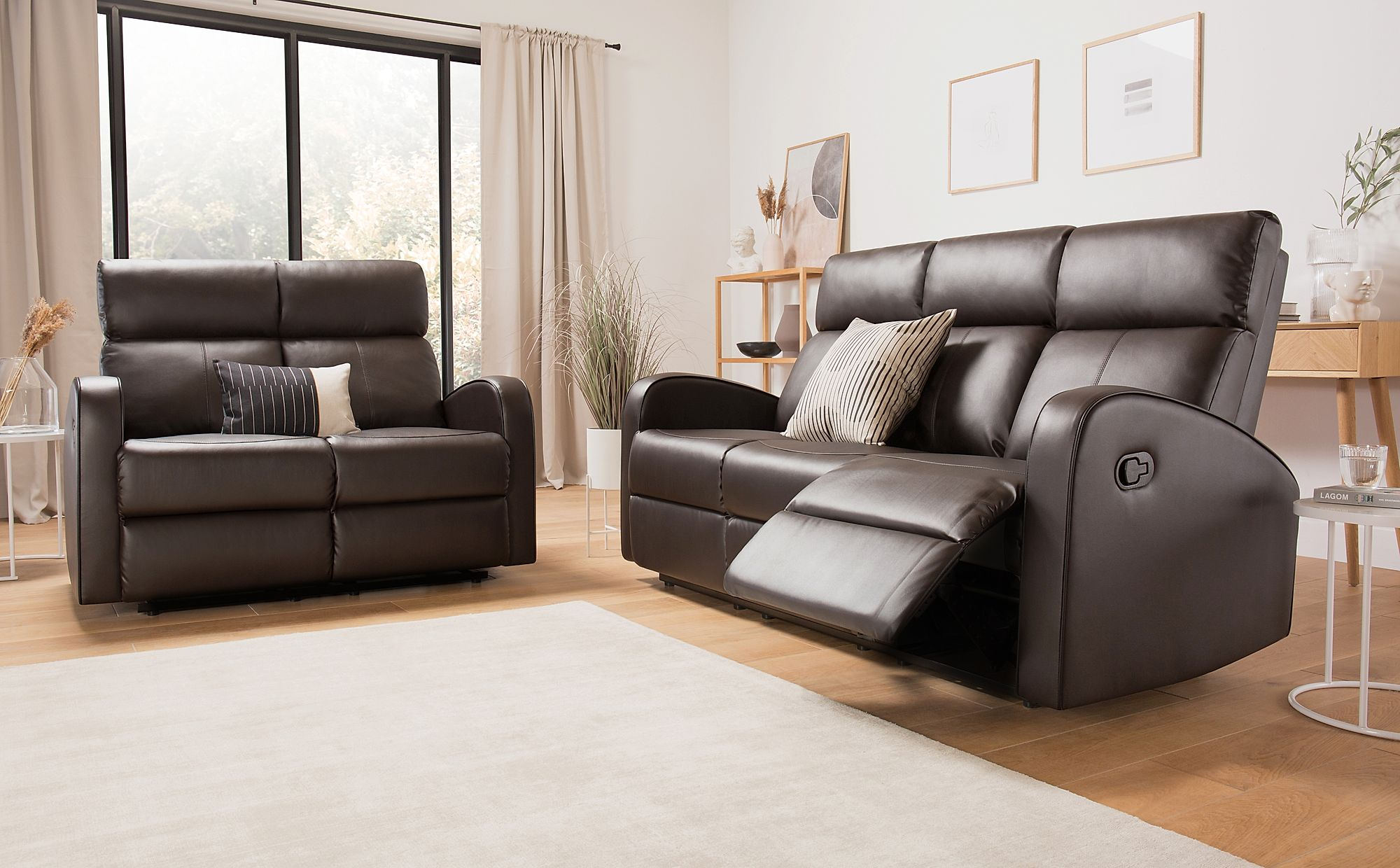 Ashby Brown Leather 3+2 Seater Recliner Sofa Set ...