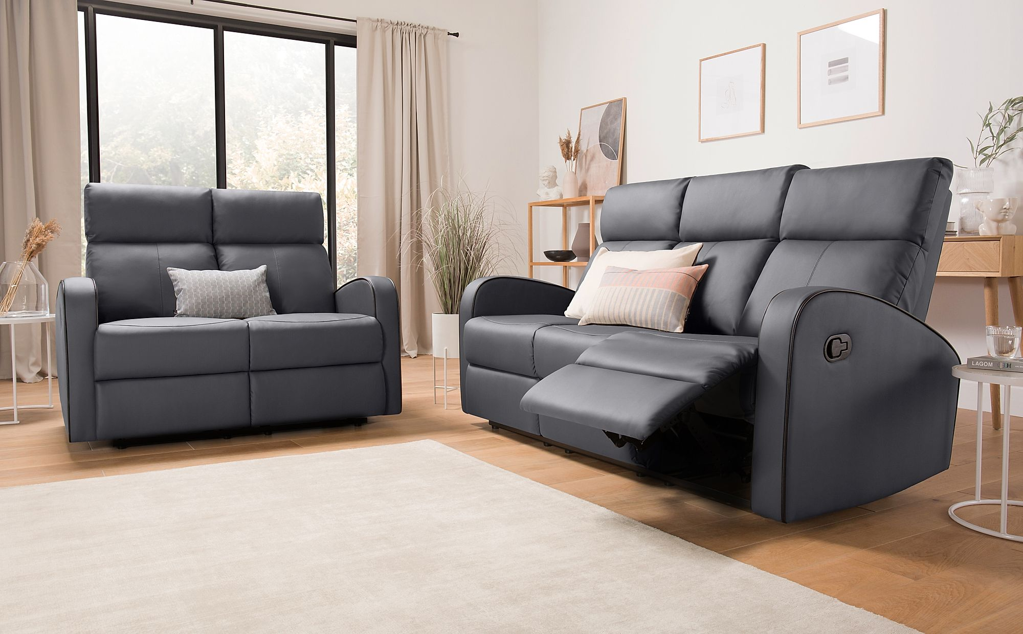 Ashby Grey Leather Recliner Sofa - 3+2 Seater