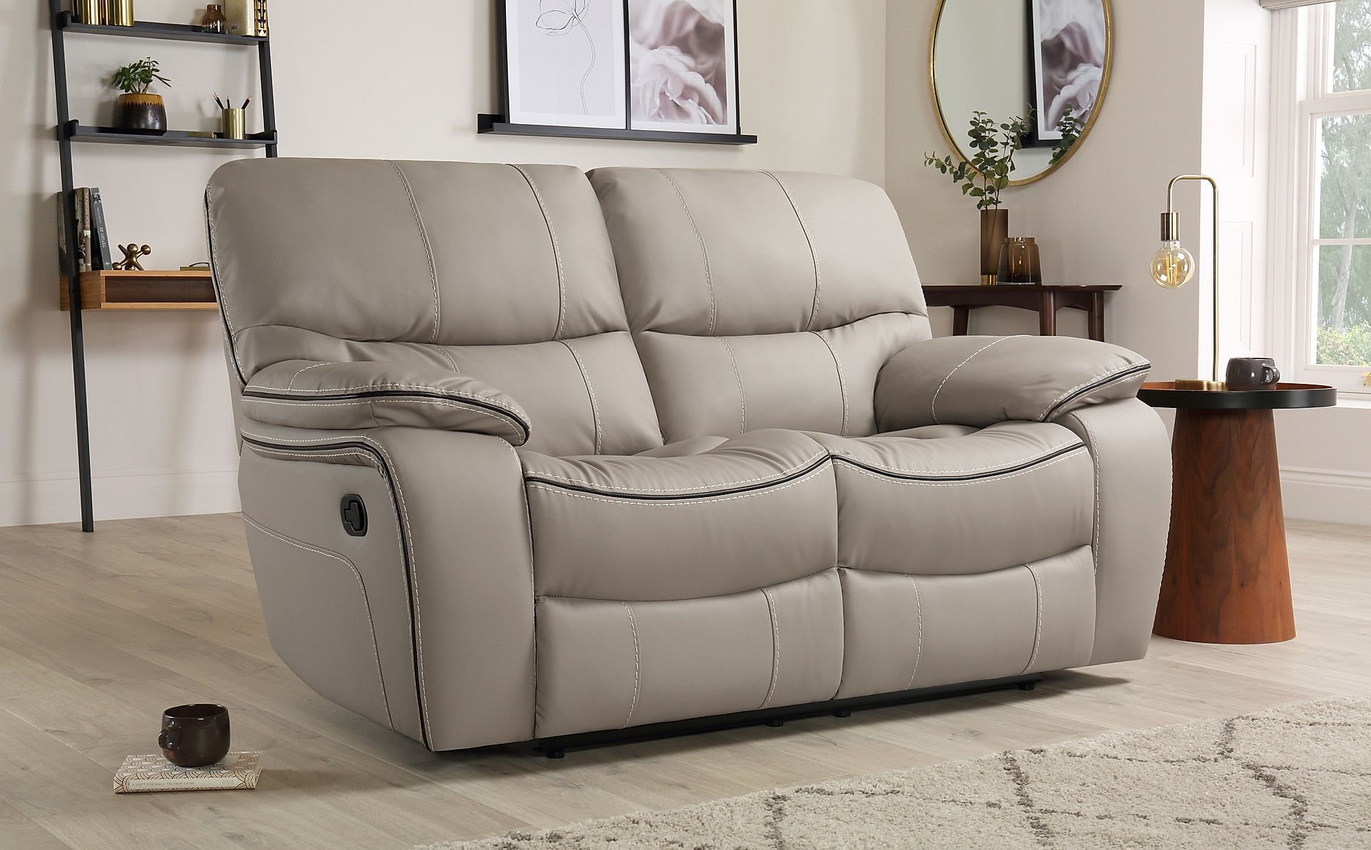 Beaumont Taupe Leather 2 Seater Recliner Sofa | Furniture ...