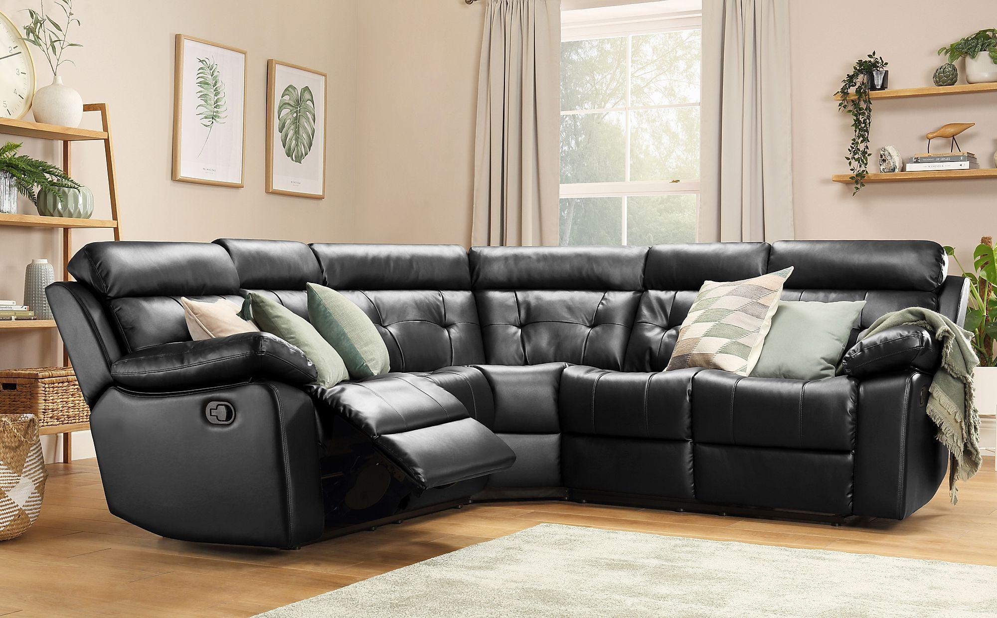 Grosvenor Black Leather Recliner Corner Sofa Only £1099.99 ...