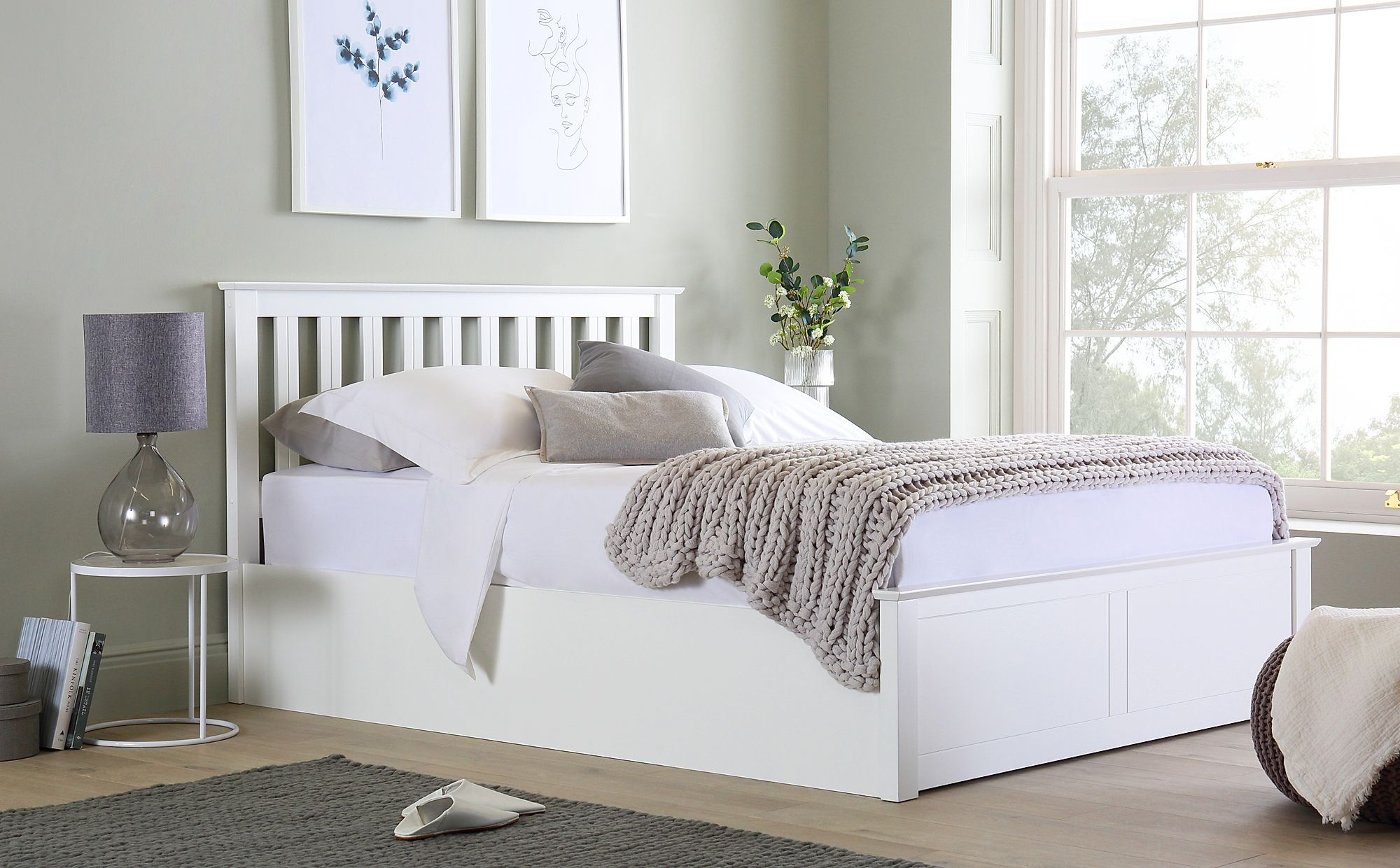 Phoenix White Wooden Ottoman Storage Bed Bed King Size