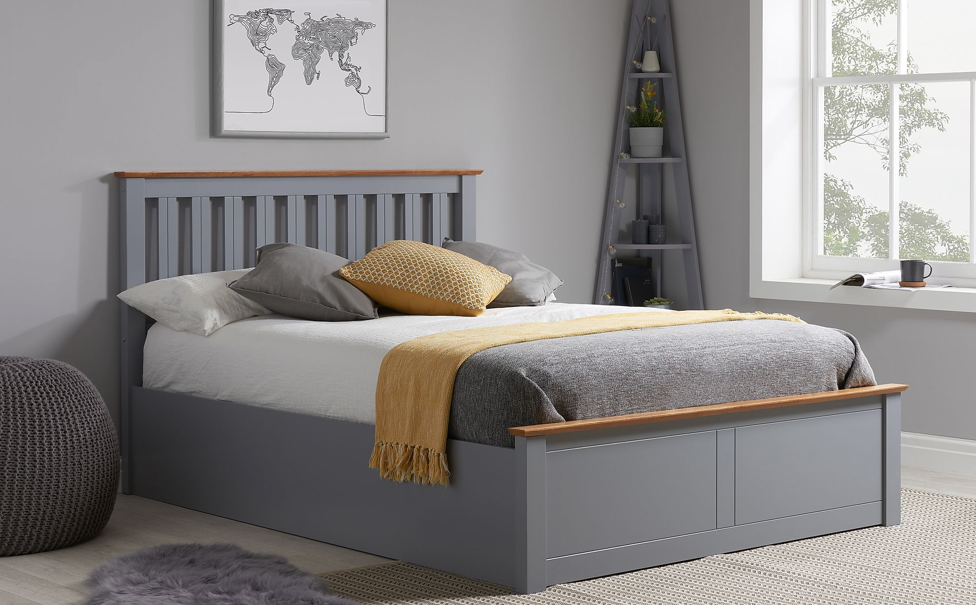 Picture of: Phoenix Grey Wooden Ottoman Small Double Bed Furniture Choice