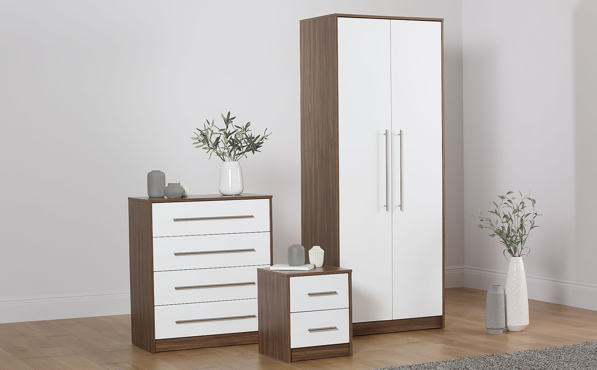 Bloomsbury Walnut White High Gloss 3 Piece 2 Door Wardrobe Bedroom Furniture Set Only