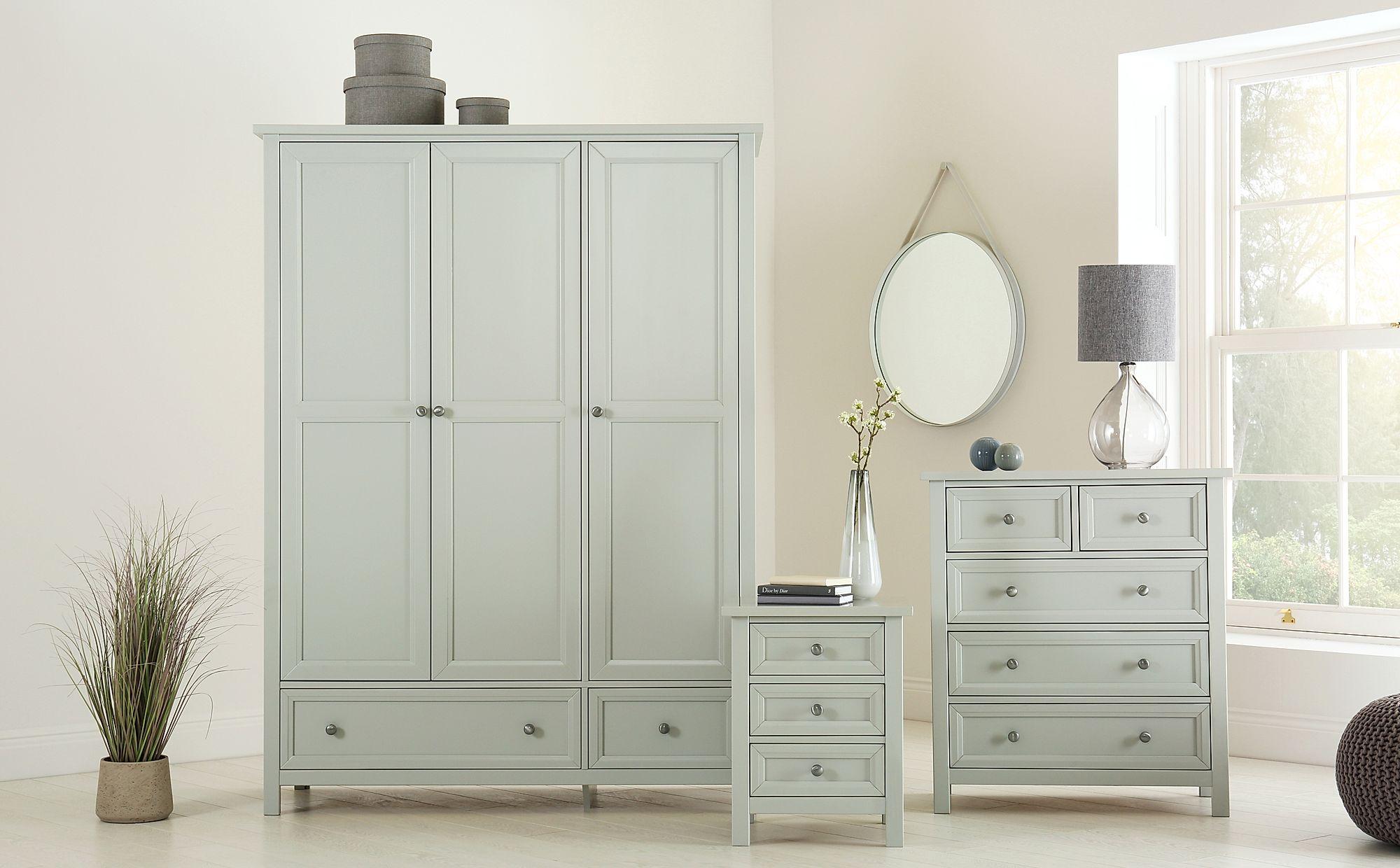 Dorset Dove Grey 3 Piece 3 Door Wardrobe Bedroom Furniture Set Only