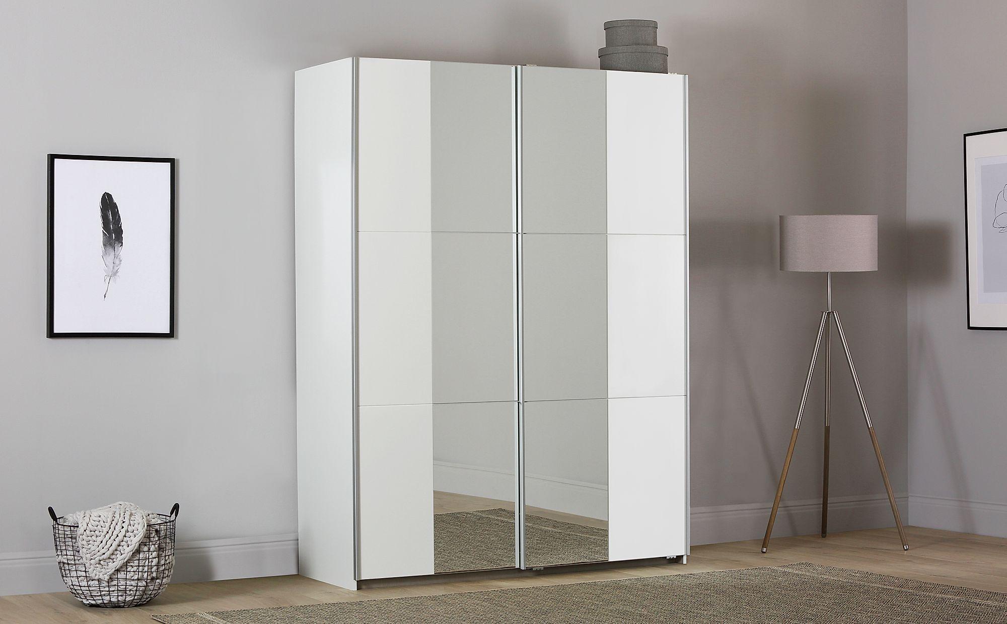 Rauch Fellbach White 2 Door Sliding Wardrobe With Mirror