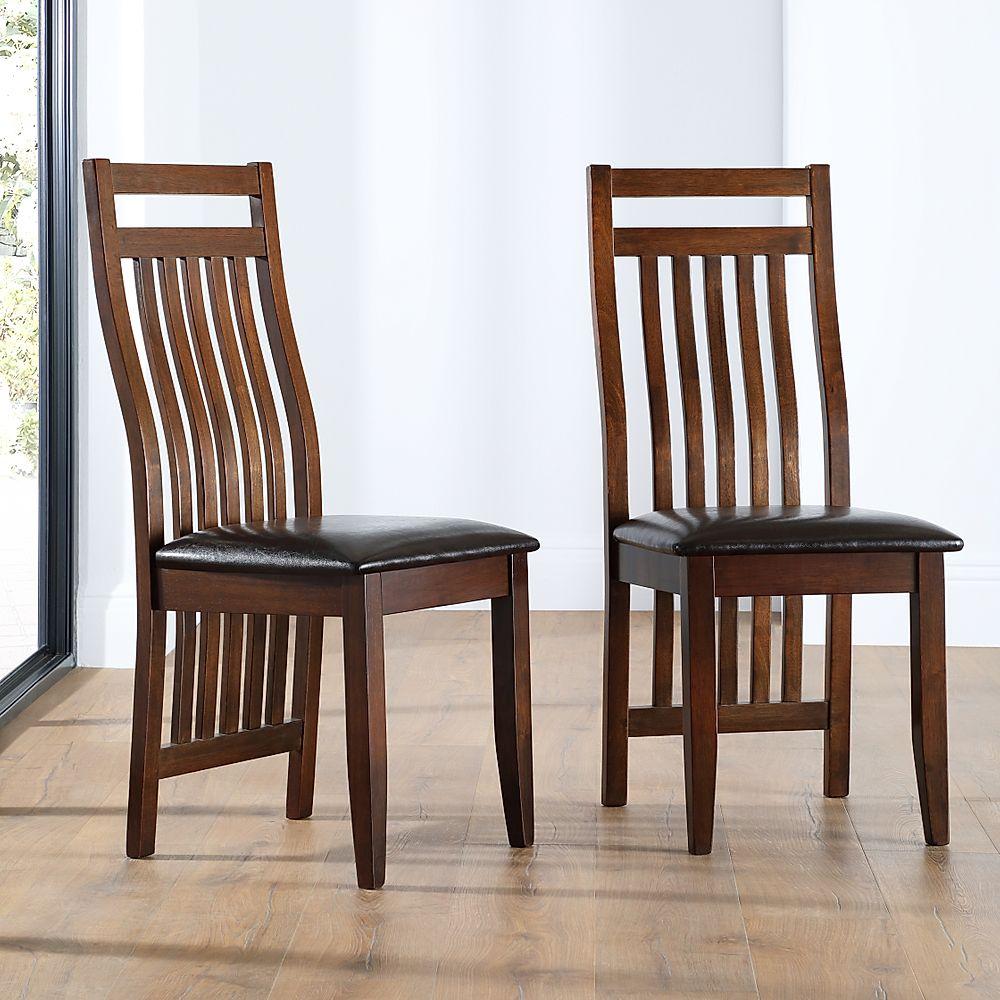 Java Dark Wood Dining Chair (Brown Leather Seat Pad)