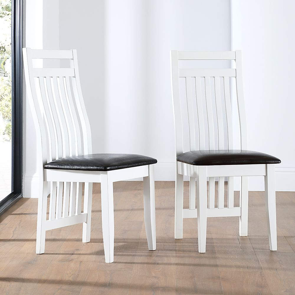Java White Dining Chair (Black Leather Seat Pad)