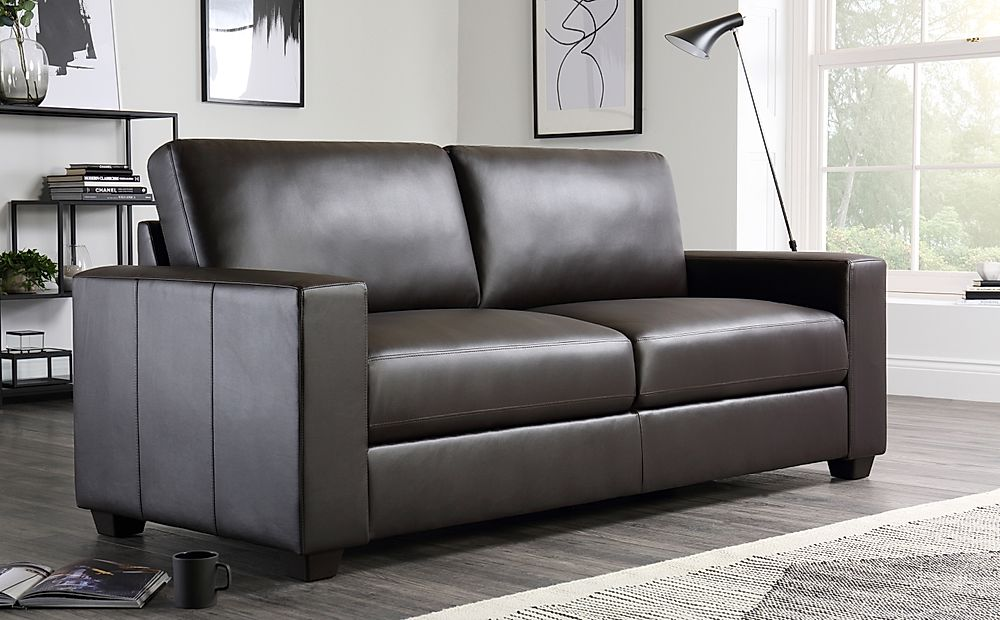 Mission Brown Leather 3 Seater Sofa