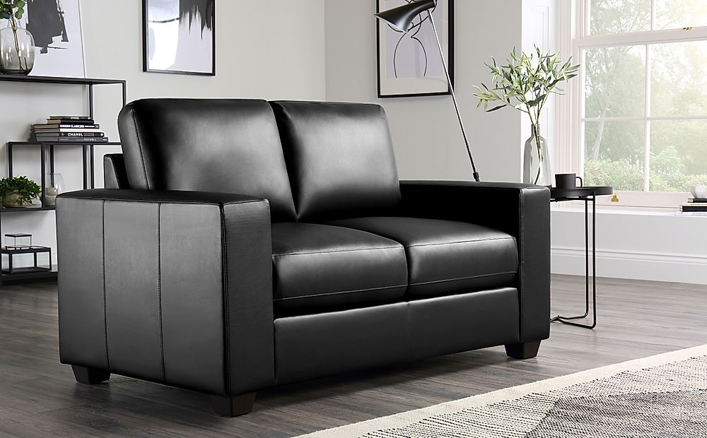 Mission Black Leather 2 Seater Sofa
