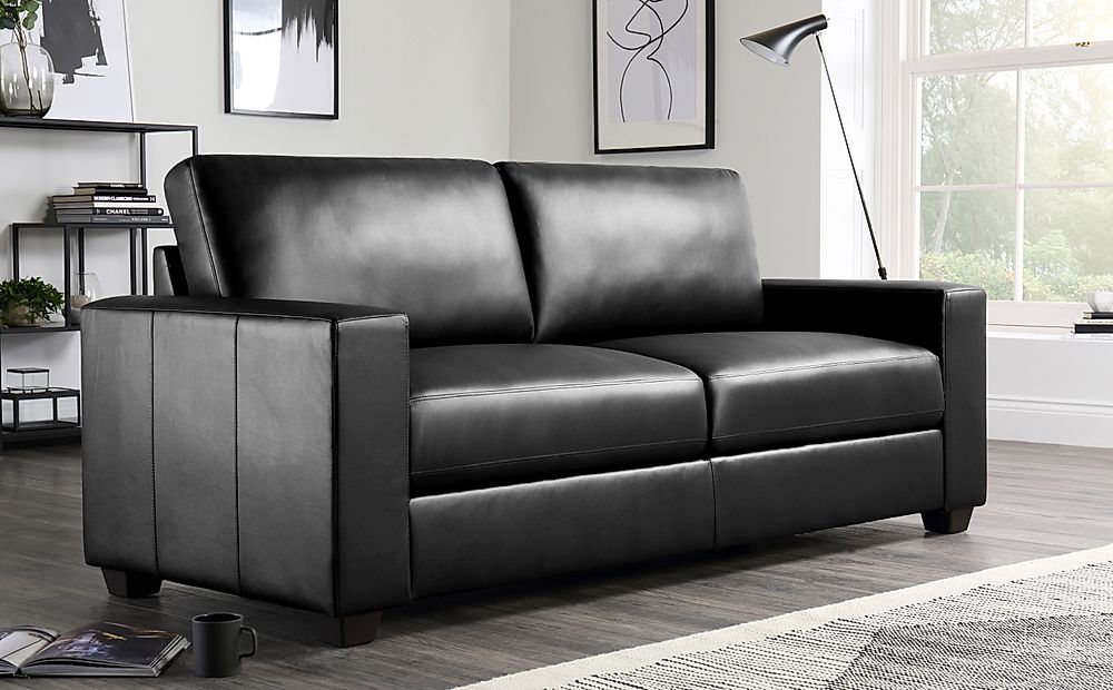 Mission Black Leather 3 Seater Sofa