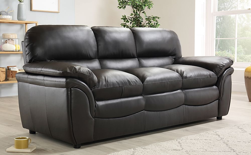 Rochester Dark Brown Leather 3 Seater Sofa