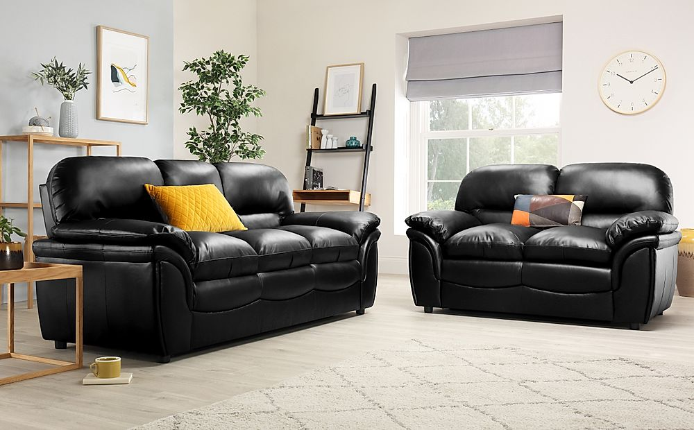 Rochester Black Leather Sofa Suite 3+2 Seater