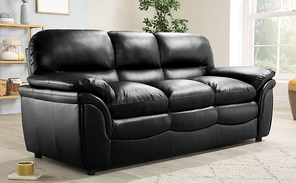 Rochester Black Leather 3+2 Seater Sofa Set | Furniture Choice