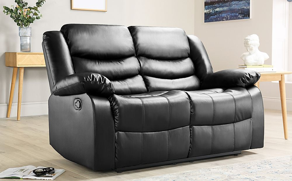 Sorrento Black Leather 2 Seater Recliner Sofa