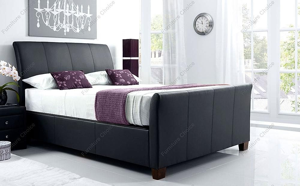 Kaydian Allendale Leather Ottoman Storage Bed - King Size - Black